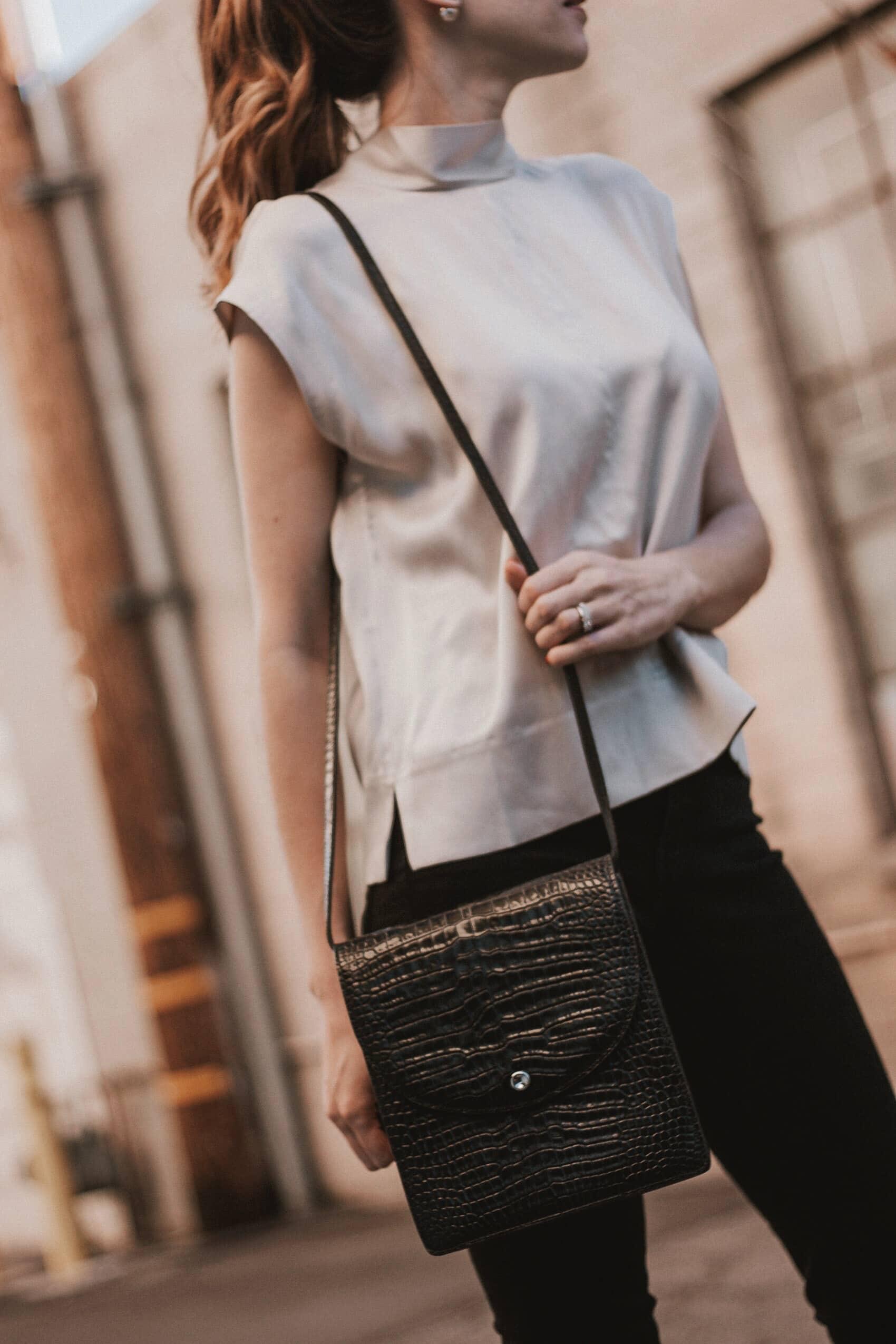 Elizabeth and James Croc Embossed Bag, Minimalist Black Leather Bag