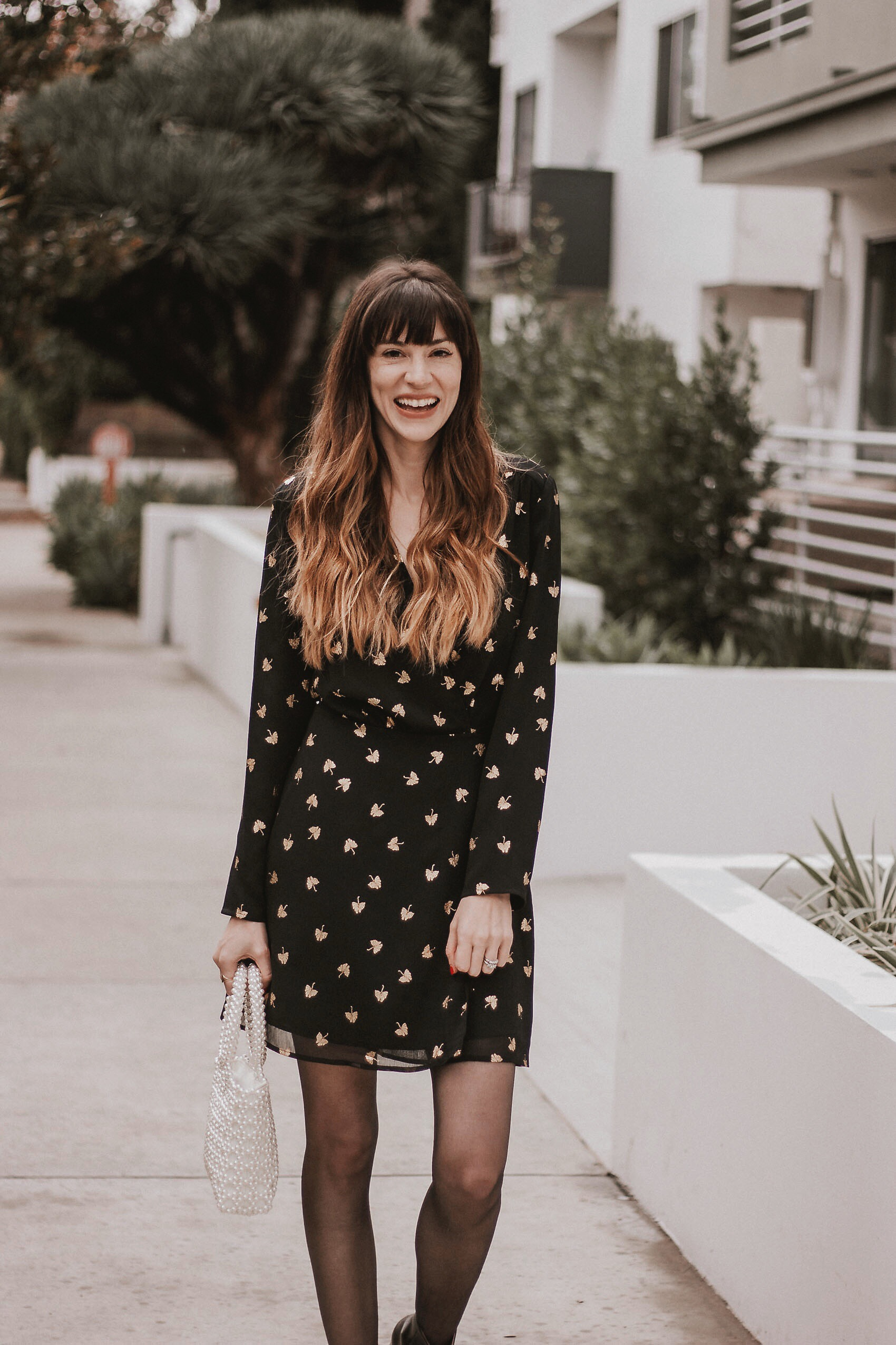 Holiday Outfit Inspiration, Black Wrap Dress with Gold Details