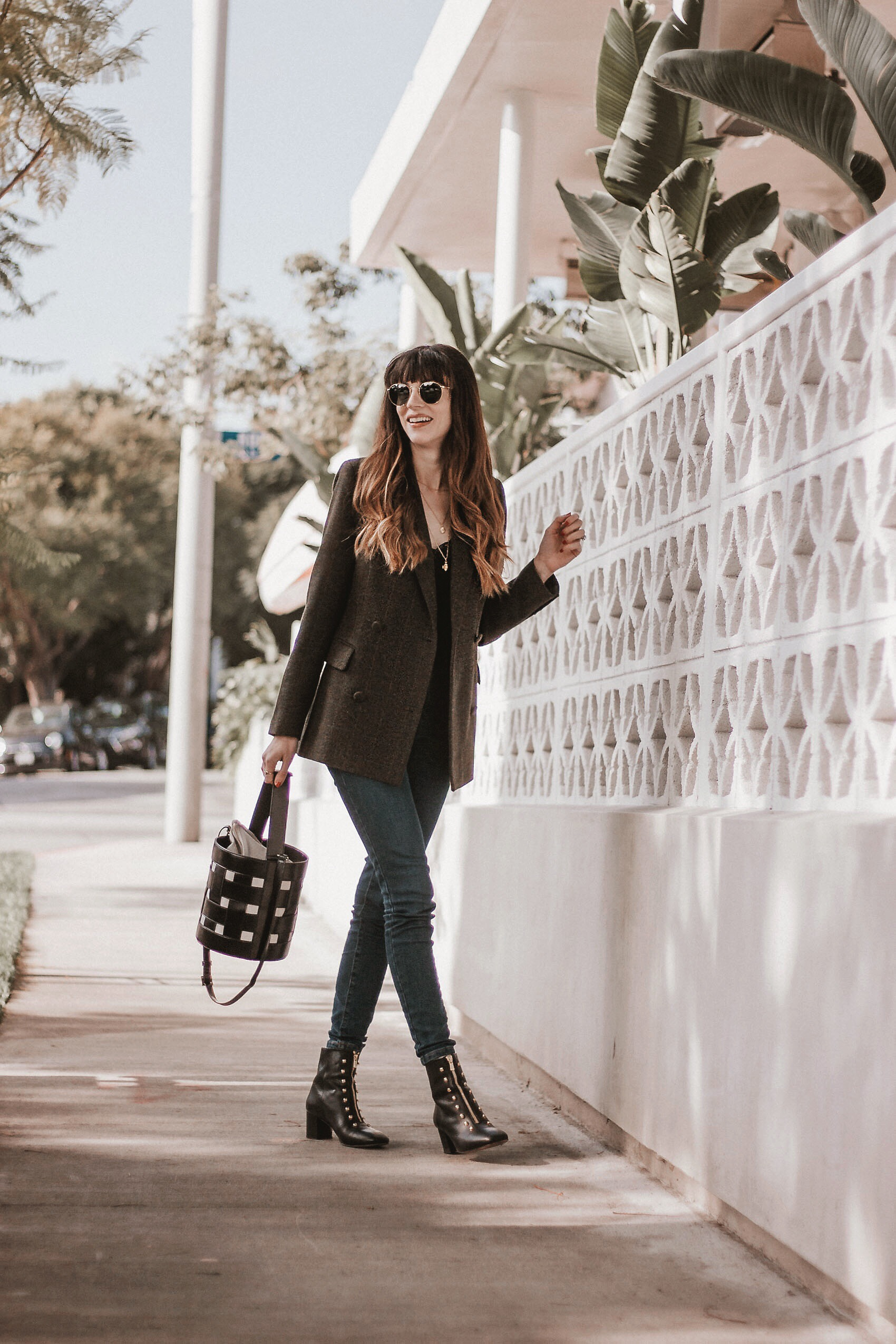 Jeans and a Teacup, Vasic New York Bucket Bag, An Hour and a Shower Booties, Everlane jeans