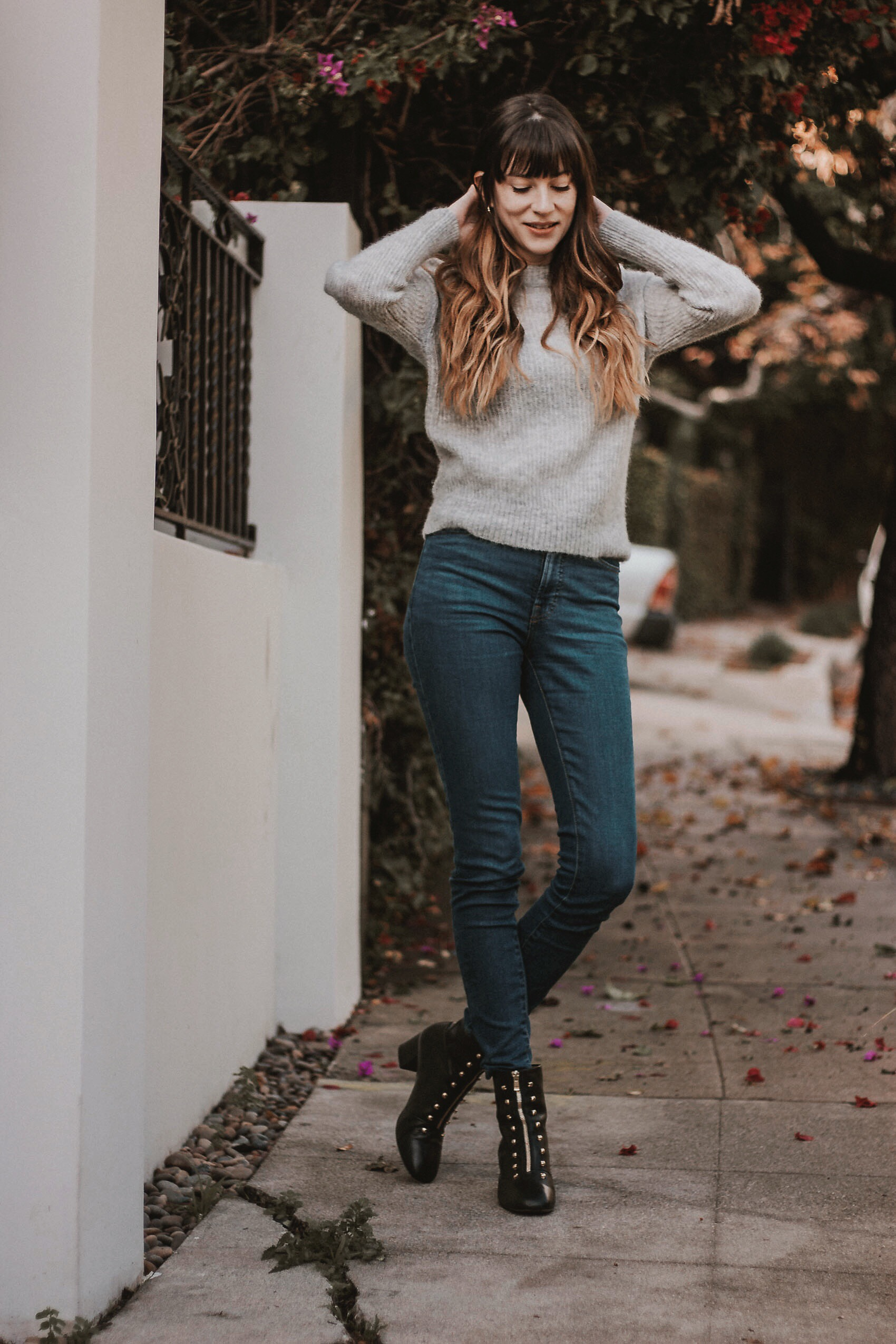 Grey Wool Sweater, Everlane Skinny Jeans, Black Leather Boots with Gold Hardware