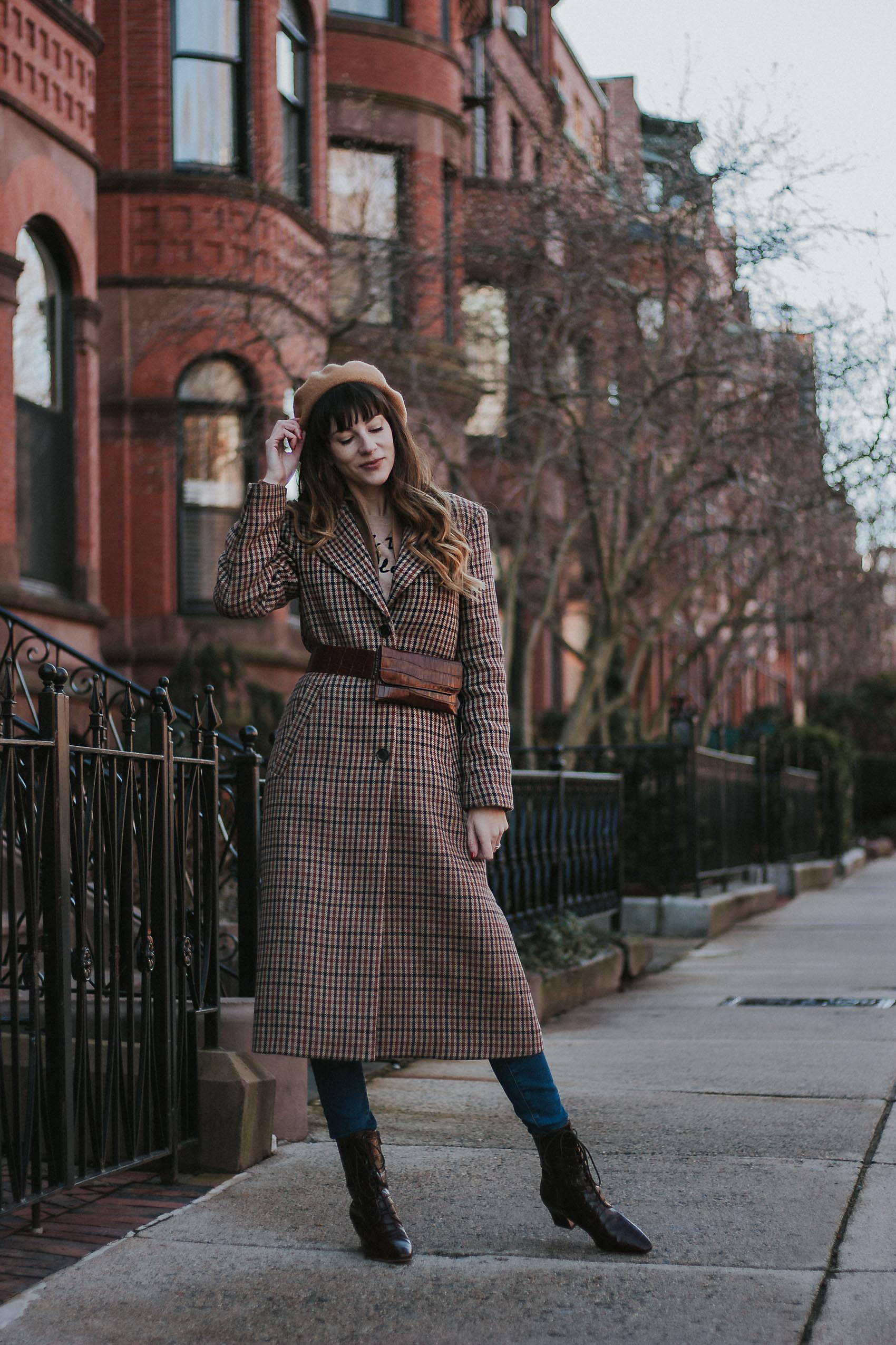 How to Layer, & Other Stories Belt Bag and Long Plaid Wool Coat with Beret