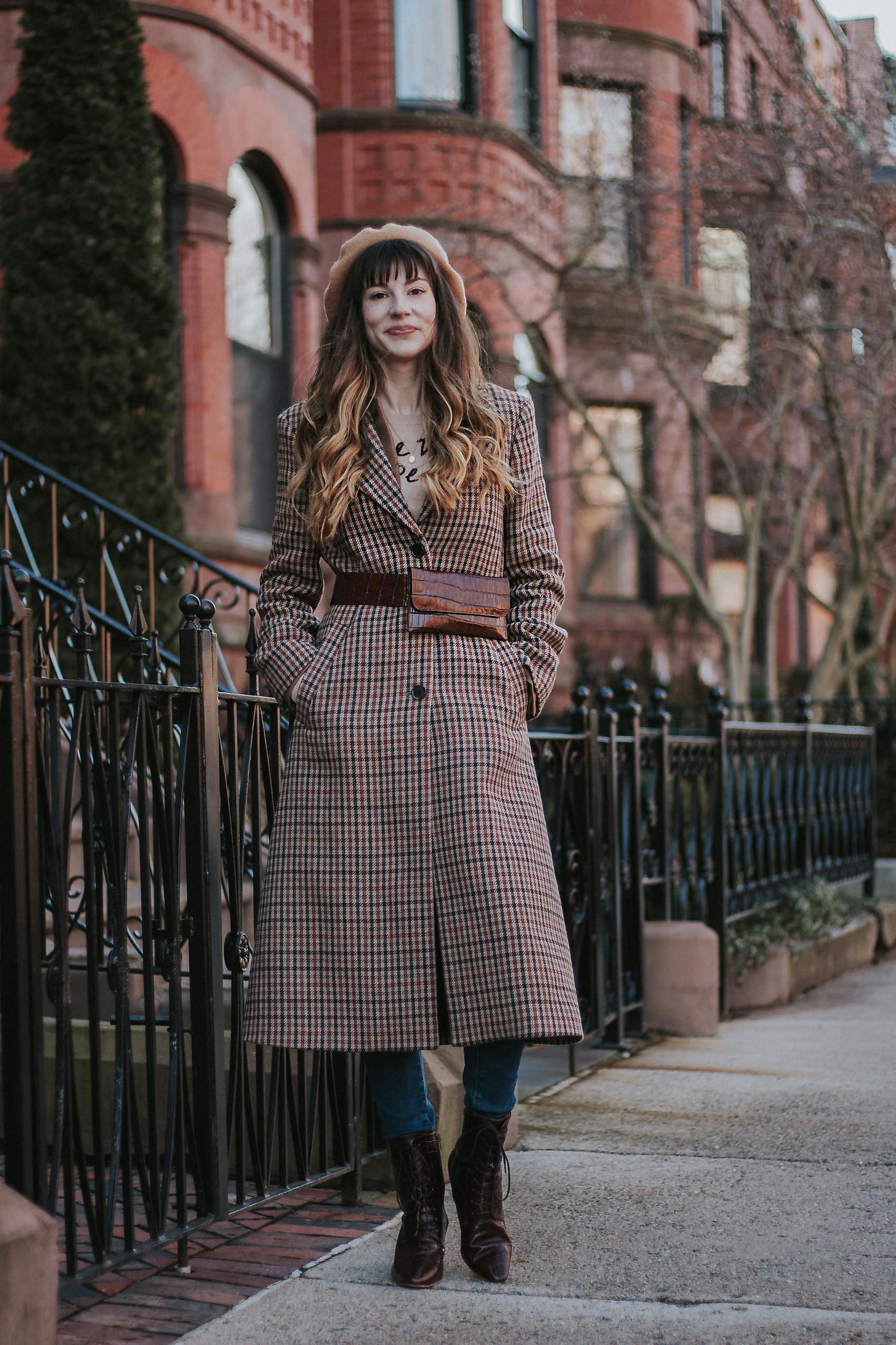 Fashion Blogger in Boston wearing & Other Stories Plaid Coat and Belt Bag
