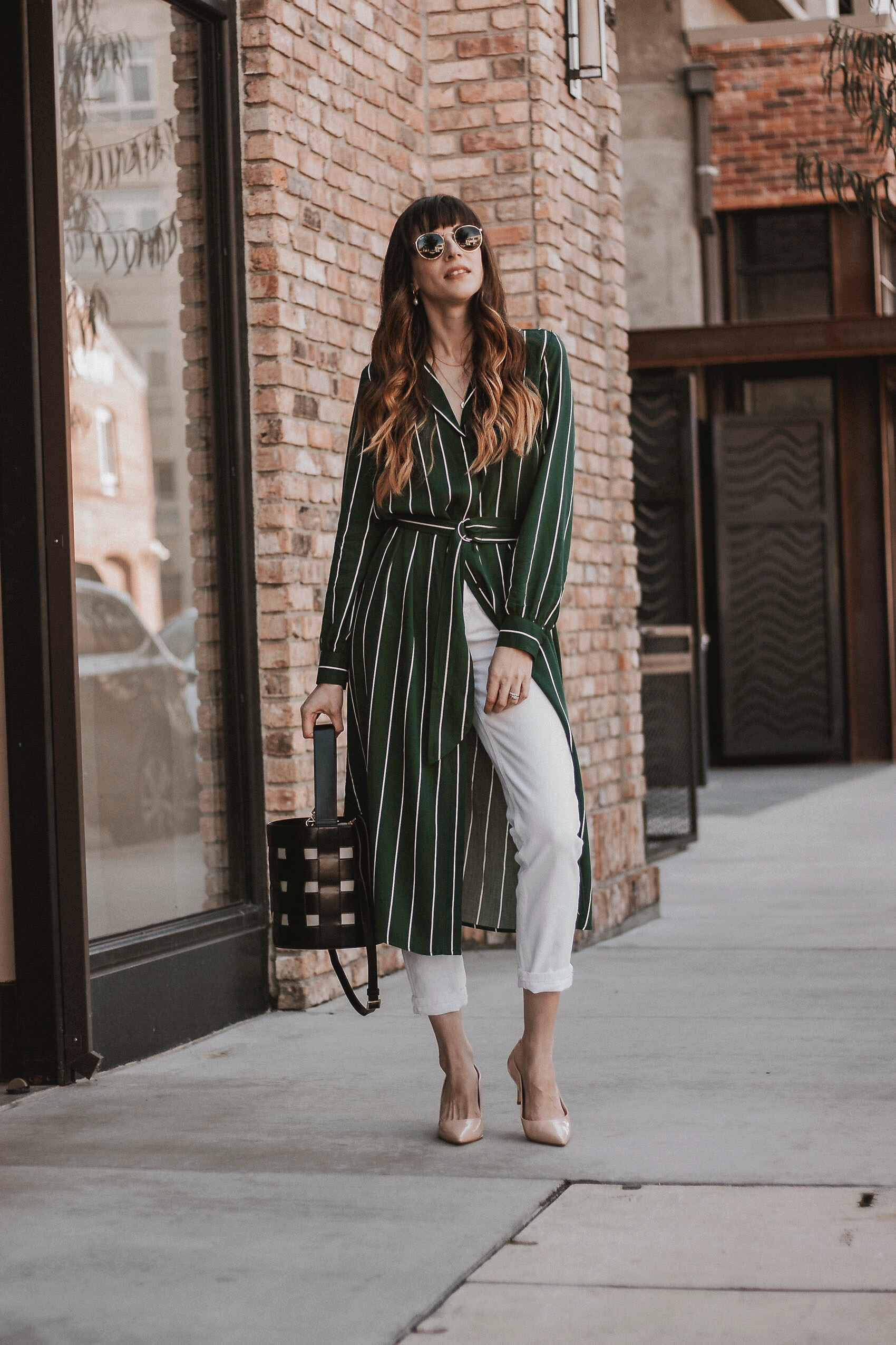 1415fdd812a ... jeans and heels Different Ways to Wear a Shirtdress Striped Shirtdress  with White ...