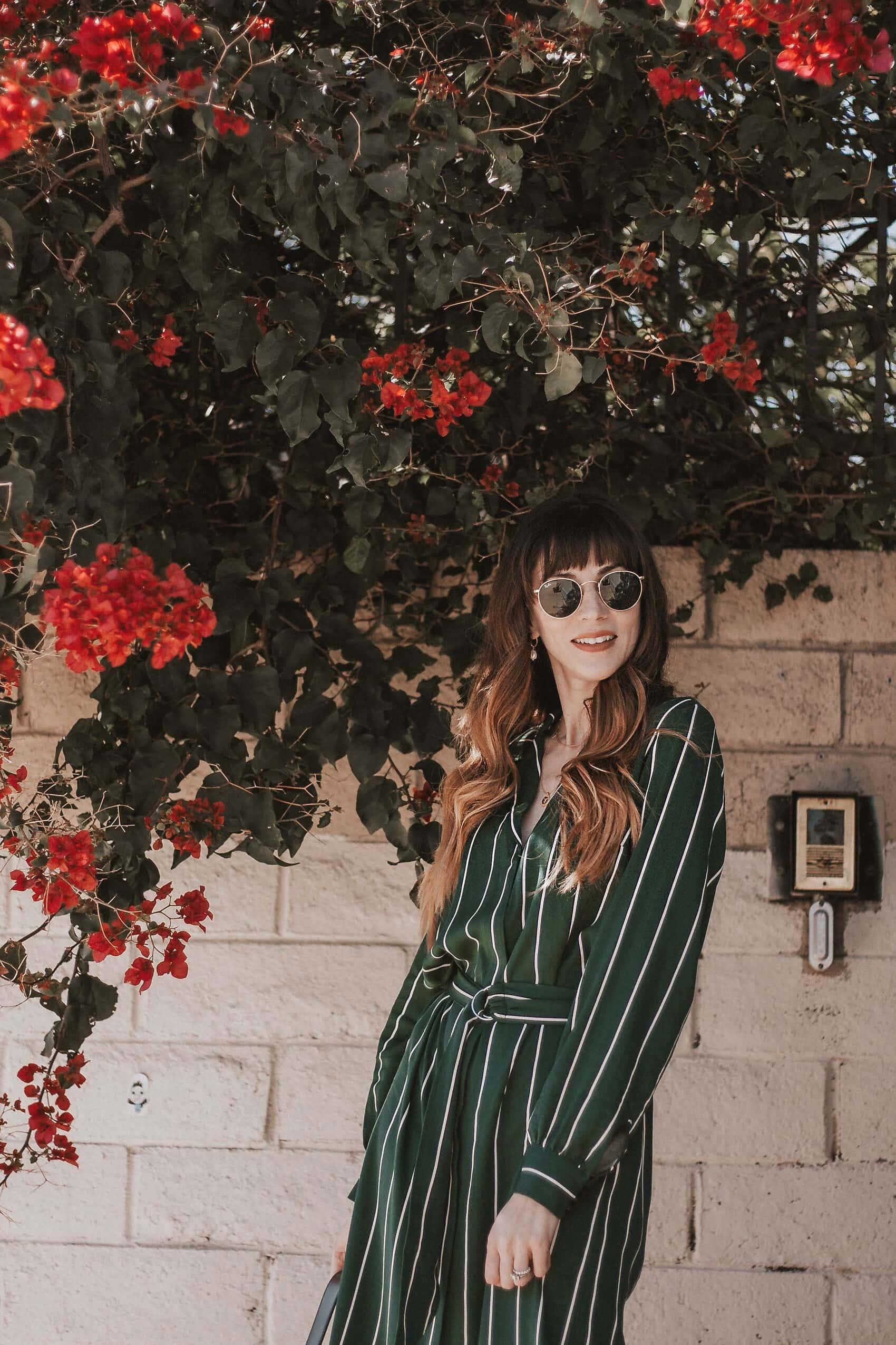 H&M green striped shirtdress on LA Fashion Blogger