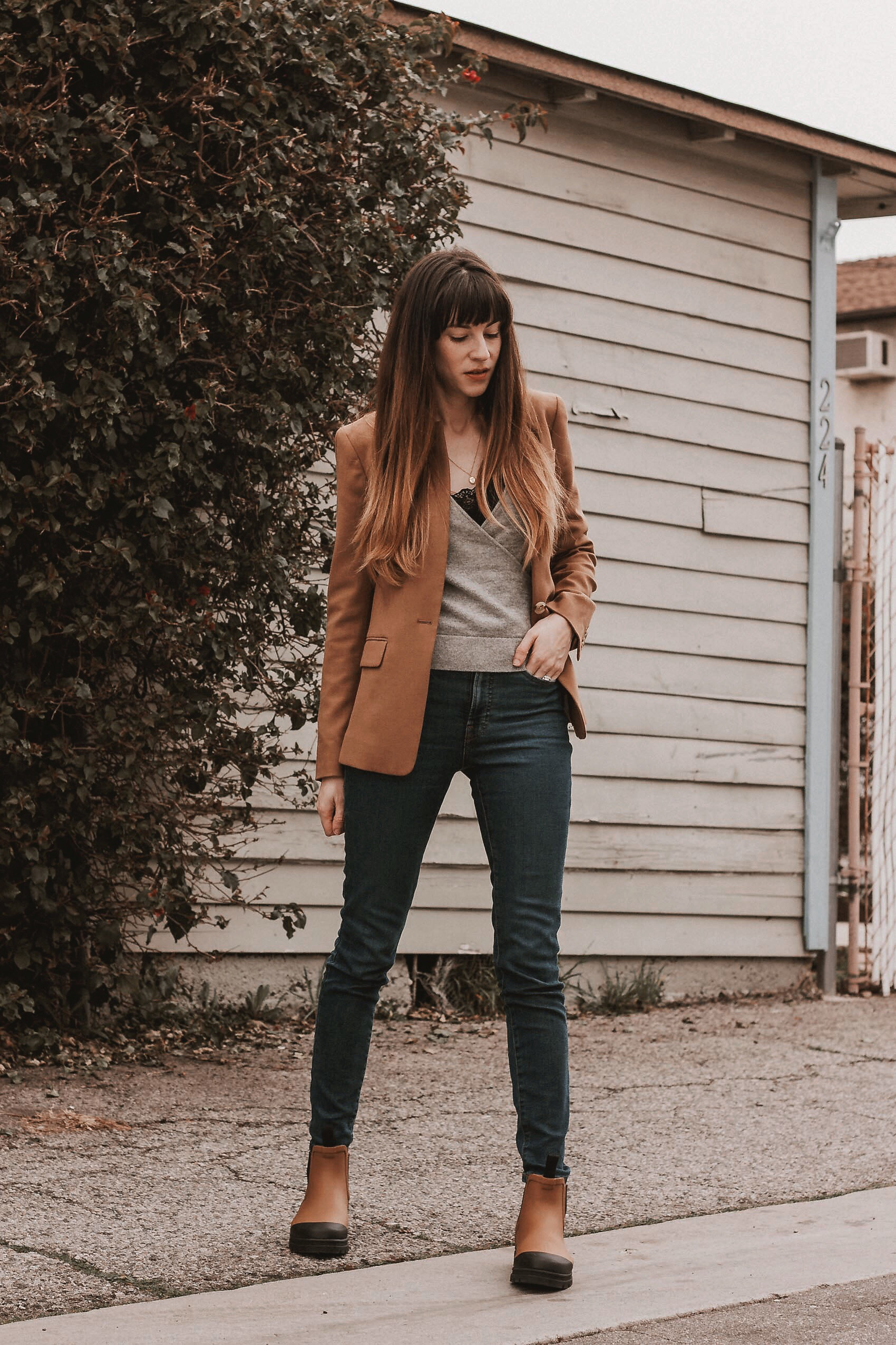 Los Angeles blogger wearing J.Crew Blazer, Everlane Cashmere Wrap Sweater, and Everlane Rain Boots