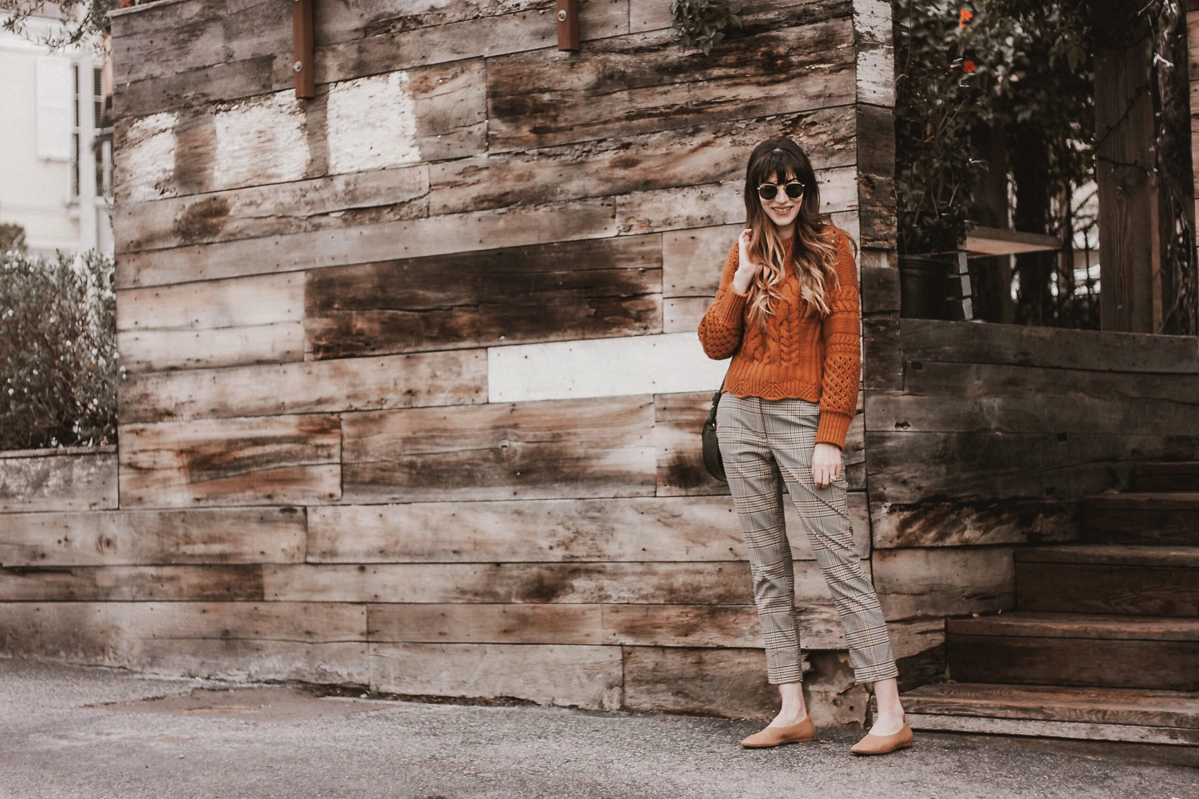 Blogger in West Hollywood wearing & Other Stories and H&M plaid pants