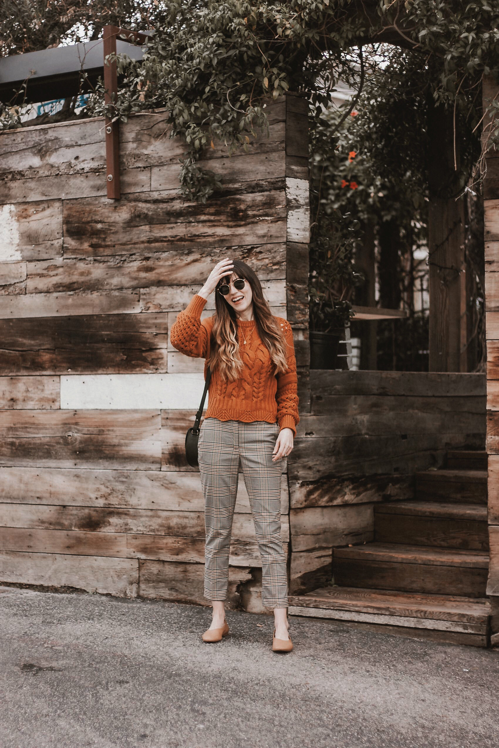 Rust Orange Cable Knit Sweater, Plaid Cropped Pants, Everlane Day Glove