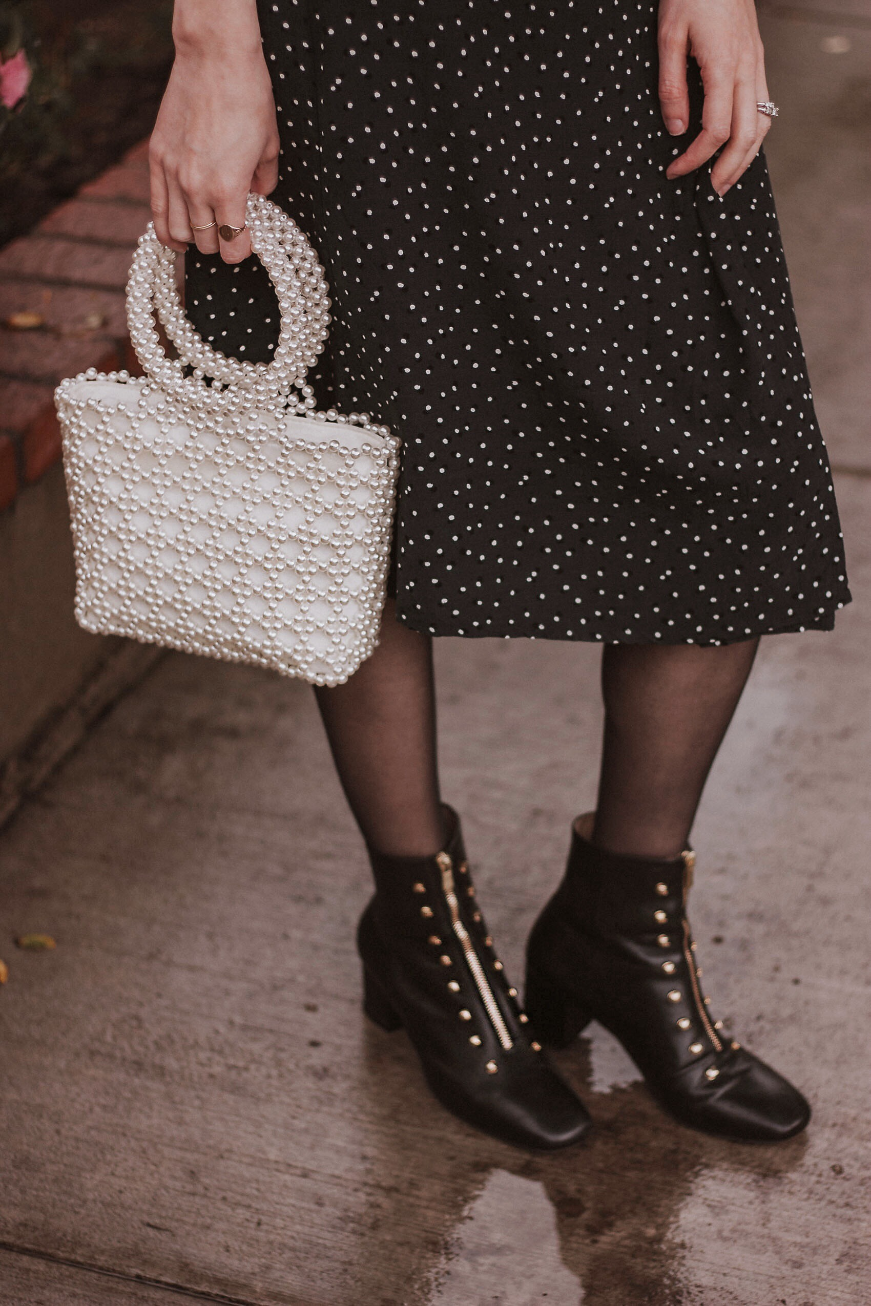 An Hour and a Shower Booties and Shrimps Beaded Bag Dupe with Rouje Skirt