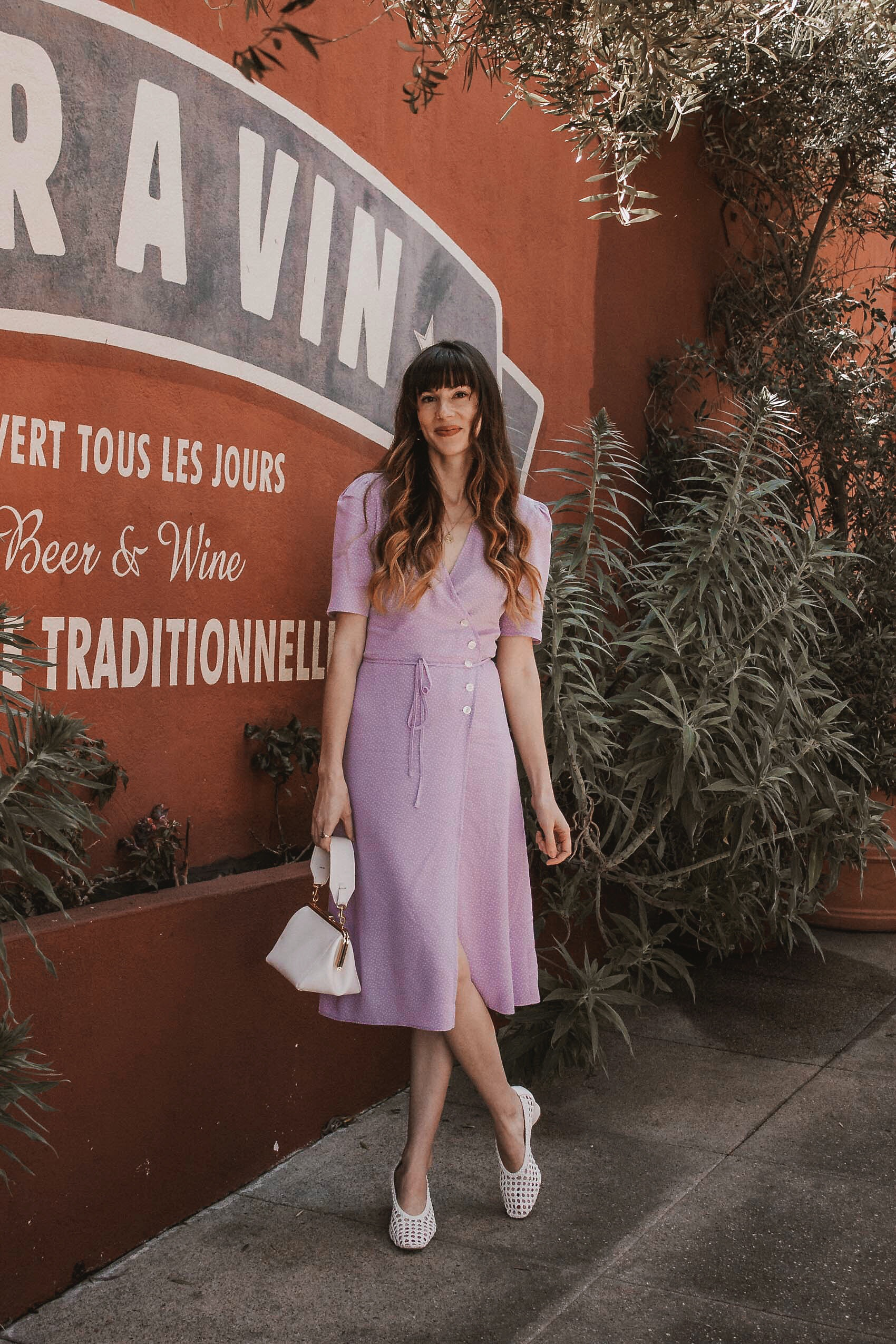 Lilac Spring Midi Dress, French Girl Fashion, French Fashion for Spring, Clare V Bag, Woven Shoes