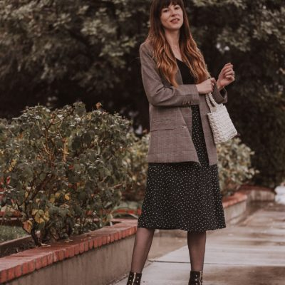 Los Angeles Style Blogger wearing an Oversized Plaid Blazer with Rouje Skirt and An Hour and a Shower boots