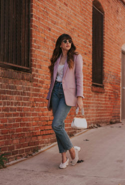 Oversized Spring Blazer, High Waisted Straight leg jeans, Clare V. Bag