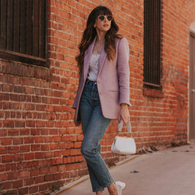 A Vintage Inspired Look with Oversized Blazer + Straight Leg Jeans