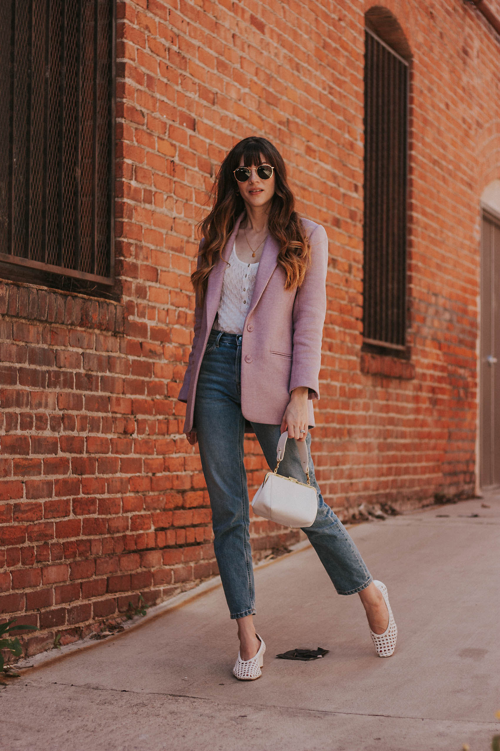 Rouje Blazer on Los Angeles fashion blogger Jeans and a Teacup