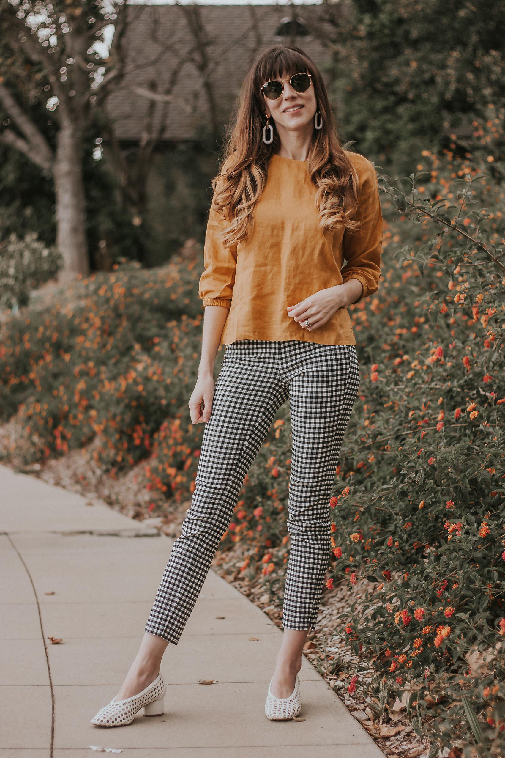 Los Angeles Style Blogger wearing Colorlinen linen top with gingham pants