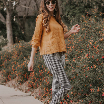 Ethical Linen Top with Who What Wear Collection gingham pants