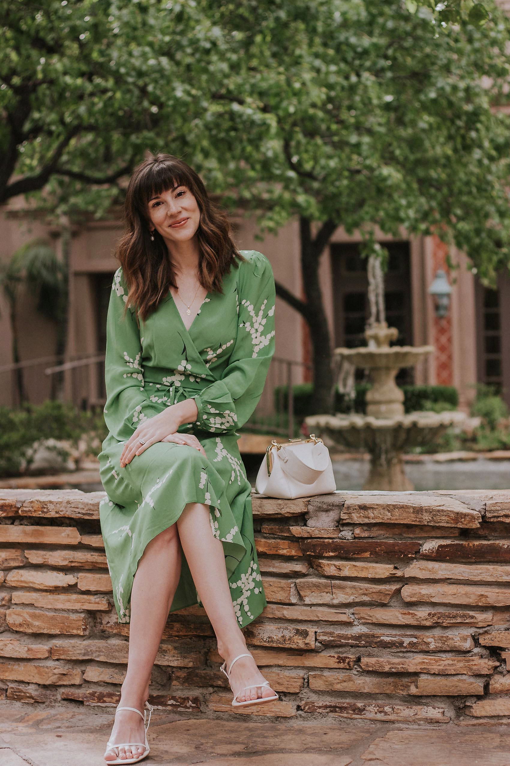 Los Angeles Style Blogger wearing Realisation Par green midi dress with Zara Sandals and Clare V Bag