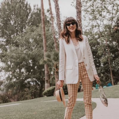 A Spring Outfit Featuring Who What Wear Gingham Pants + Link Up