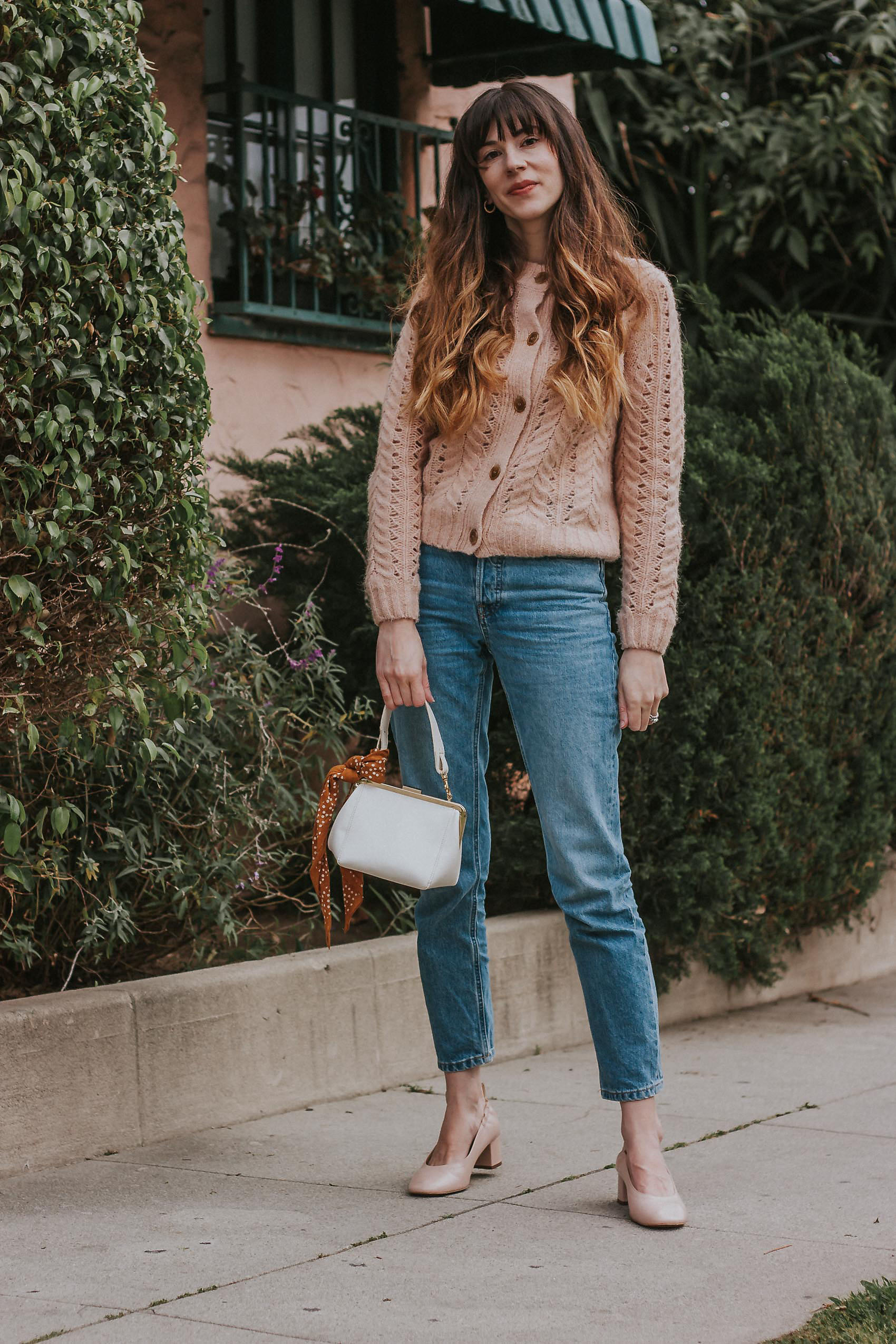Los Angeles Fashion Blogger wearing J.Crew Point Sure Pointelle Cardigan, Everlane 90's Cheeky Jean and Everlane Day Heels