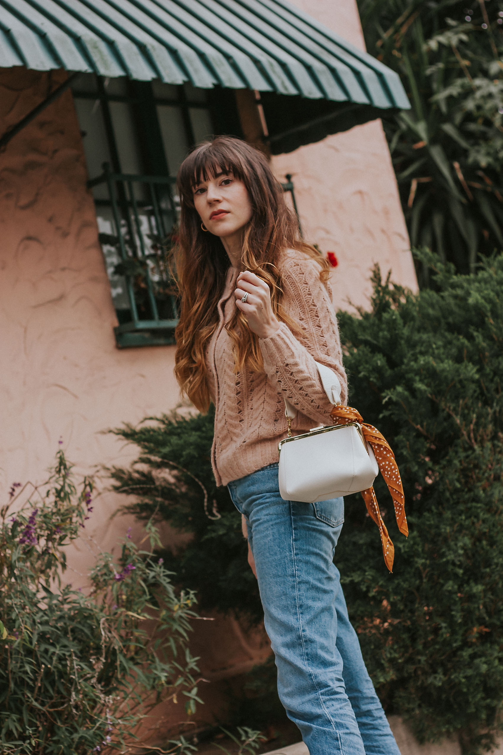 J.Crew Point Sure Pointelle Sweater with Clare V Le Box Bag