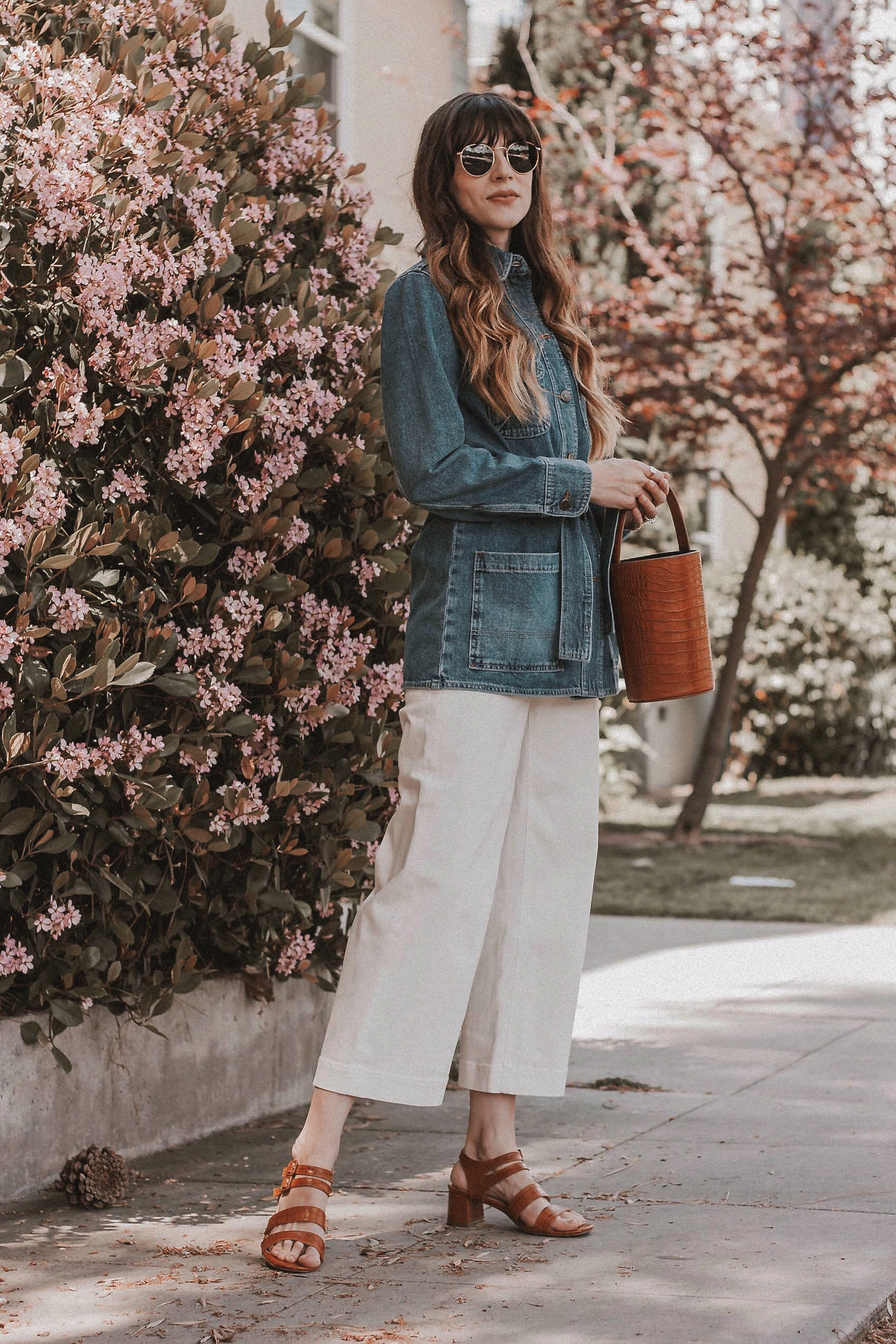 Casual Spring Outfit featuring & Other Stories Belted Denim Jacket and Everlane Wide Leg Pants