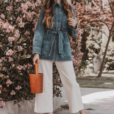 An Oversized Denim Jacket and Wide Leg Crop Pants + Link Up