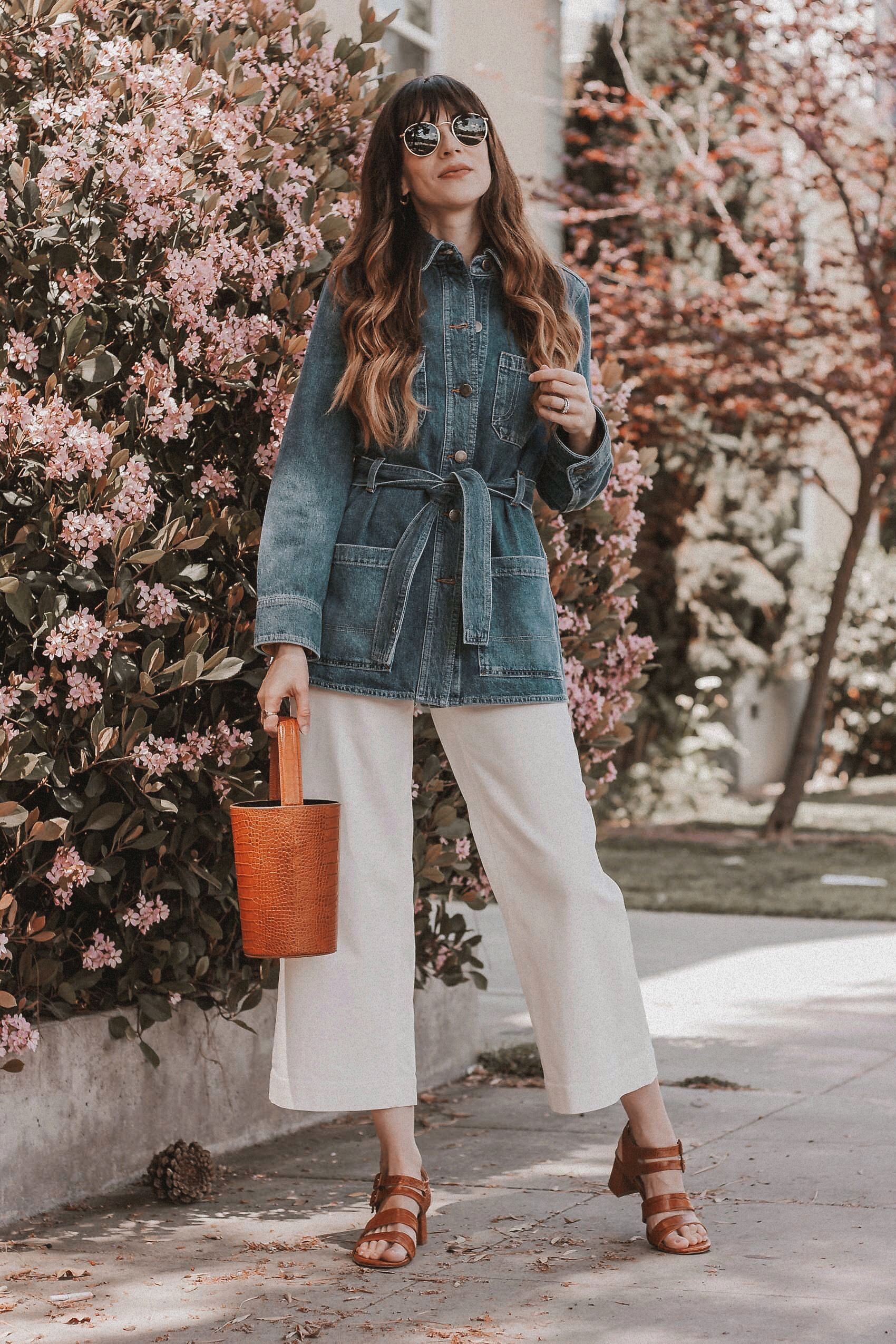 & Other Stories Denim Jacket, Everlane Wide Leg Crop Pants, Marais USA