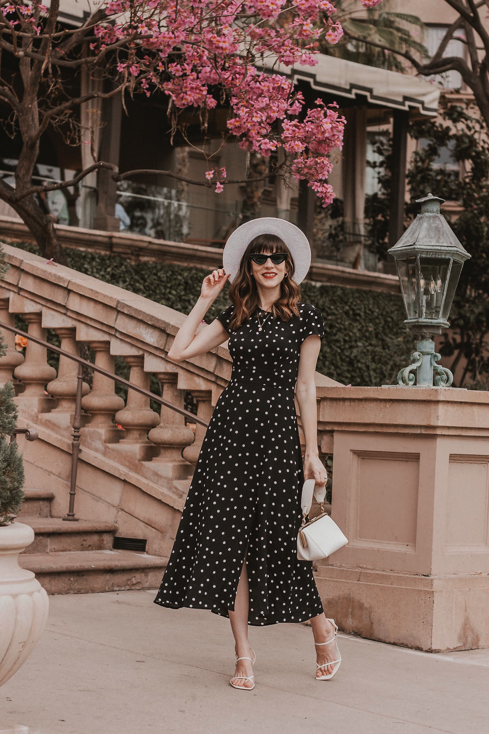 & Other Stories polka dot midi dress, Summer Vacation date night outfit