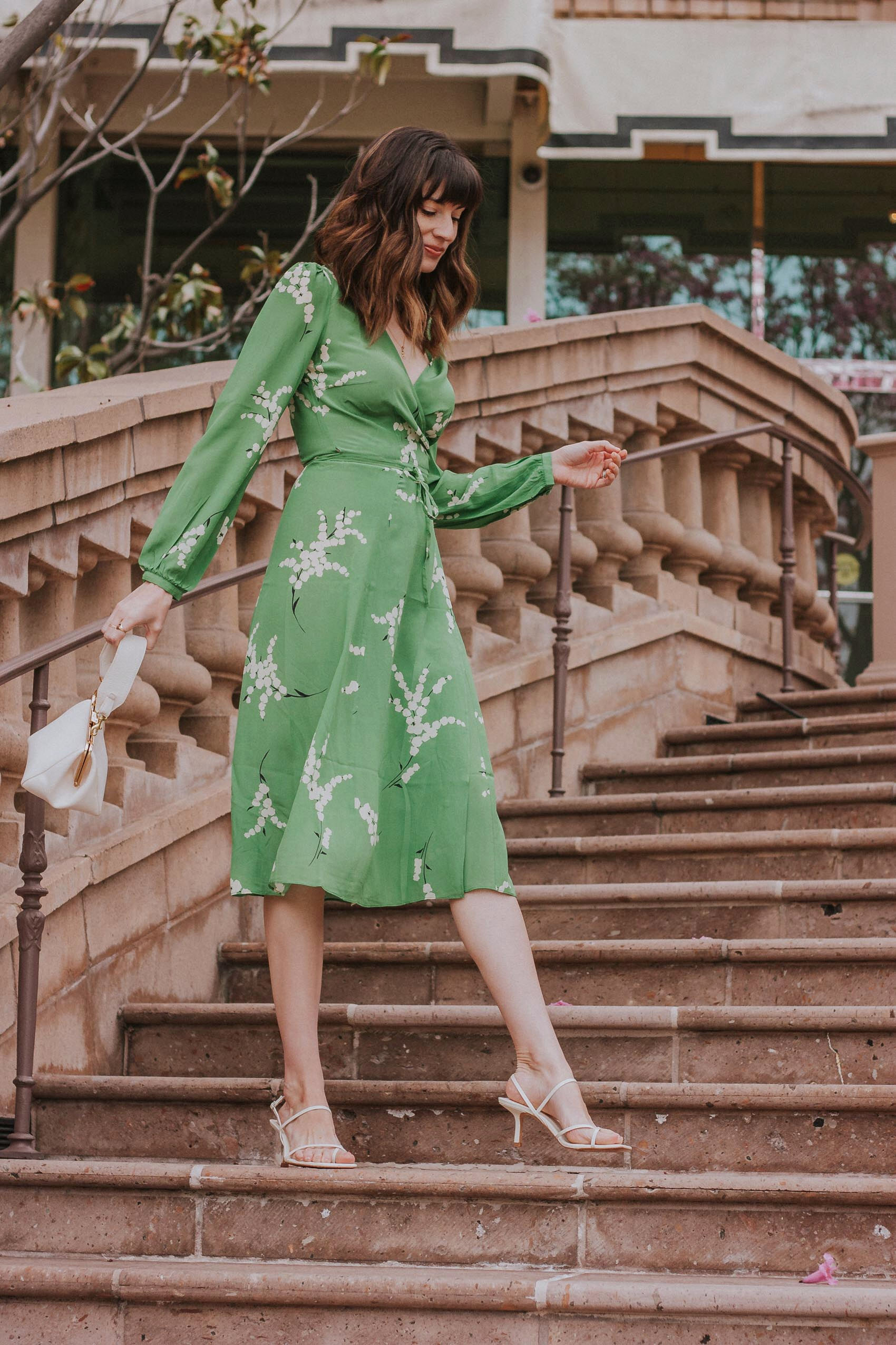 Silk Midi dress with long sleeves and Zara square toe sandals