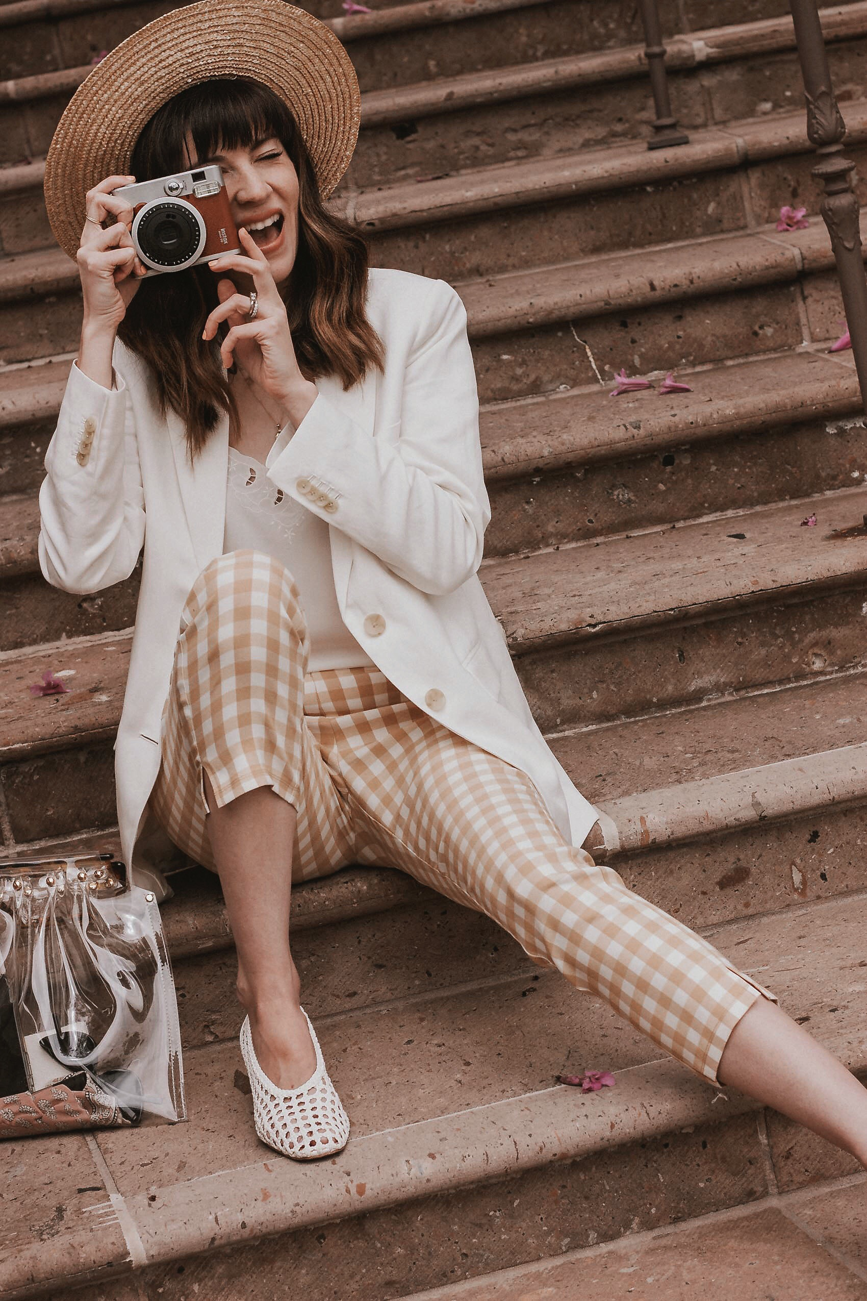 Who What Wear Gingham Pants, Everlane Blazer, Instax Vintage Camera and Clear Bag