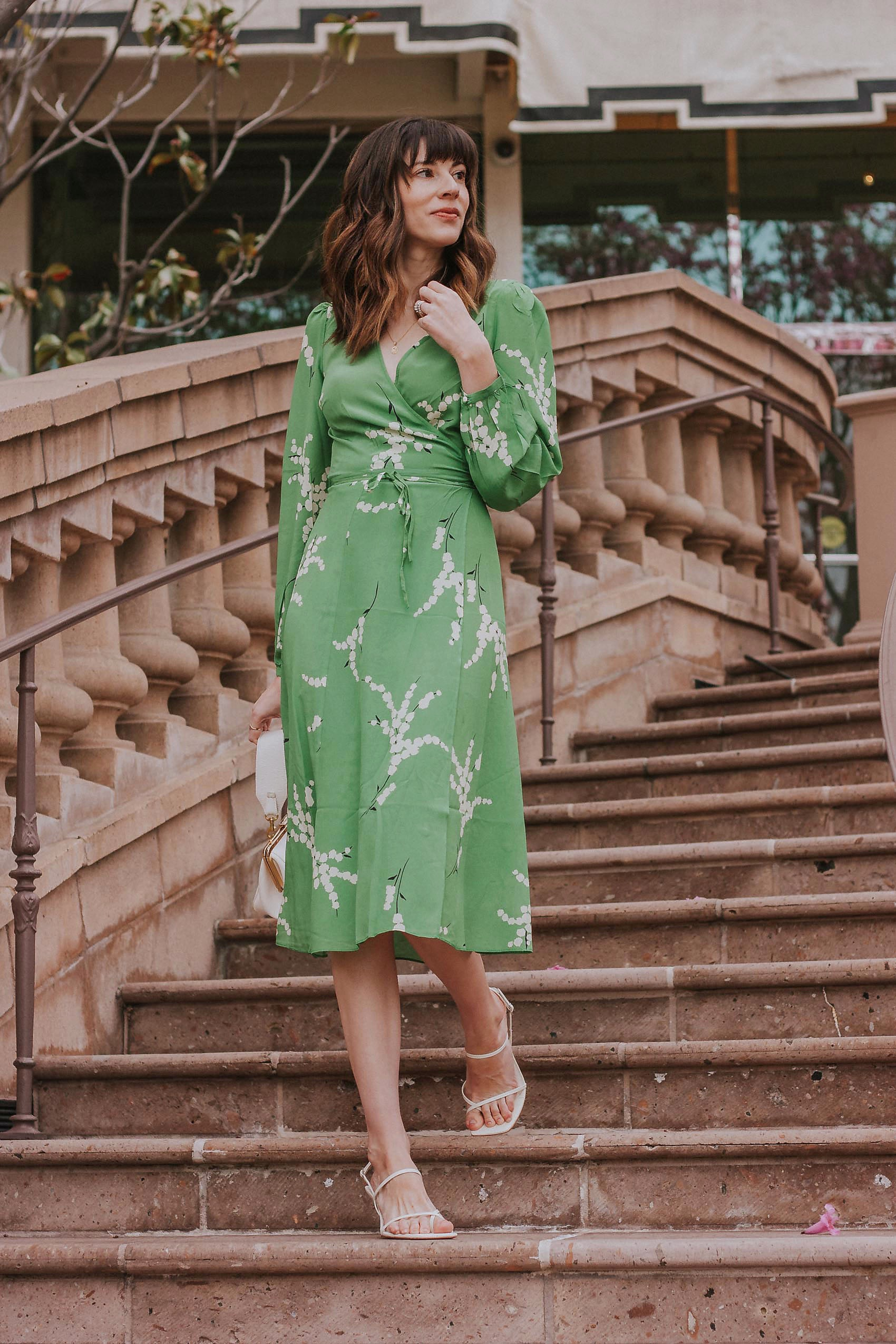 Los Angeles Blogger wearing French Inspired Midi Dress from Realisation Par