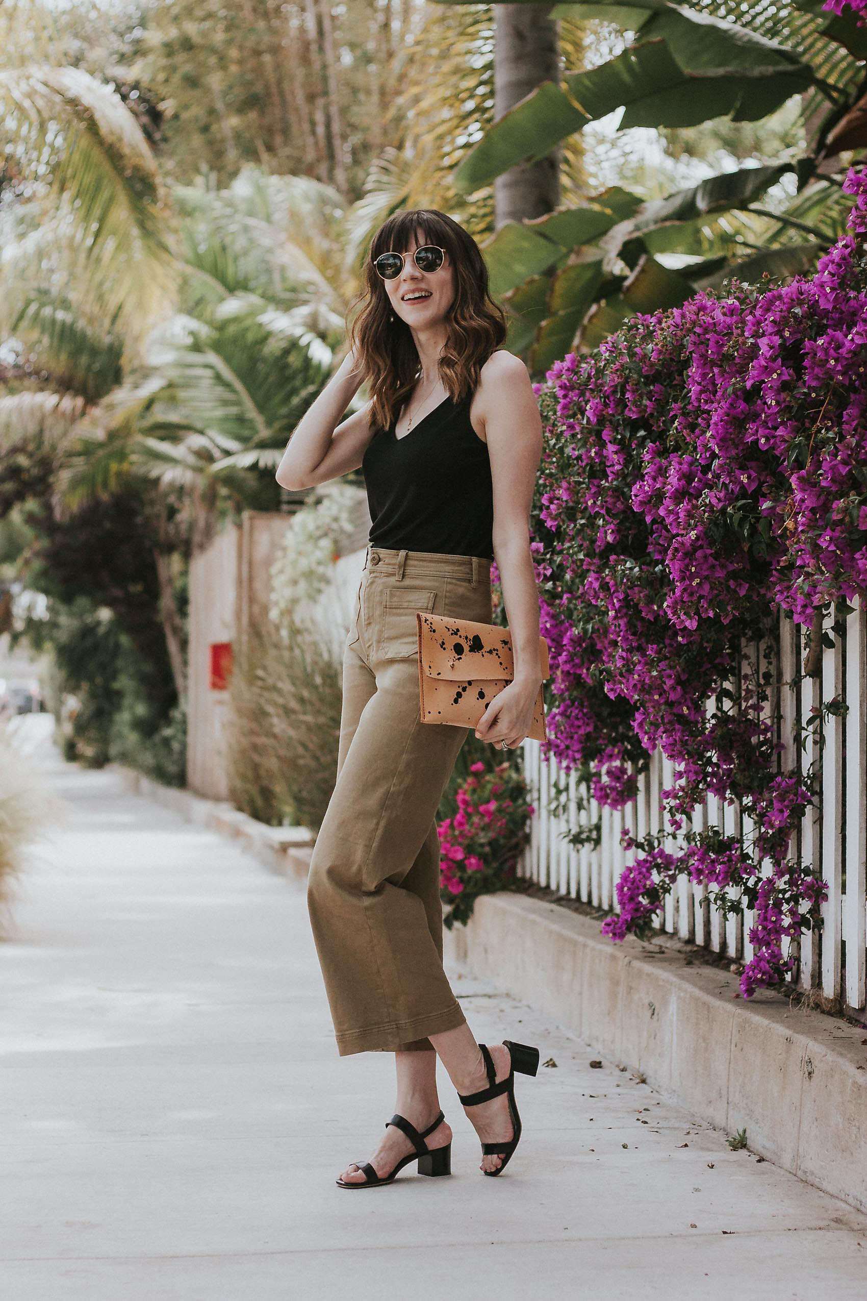 Everlane Outfit with Wide Leg Pants, Black Tank, and Block Heel Sandals