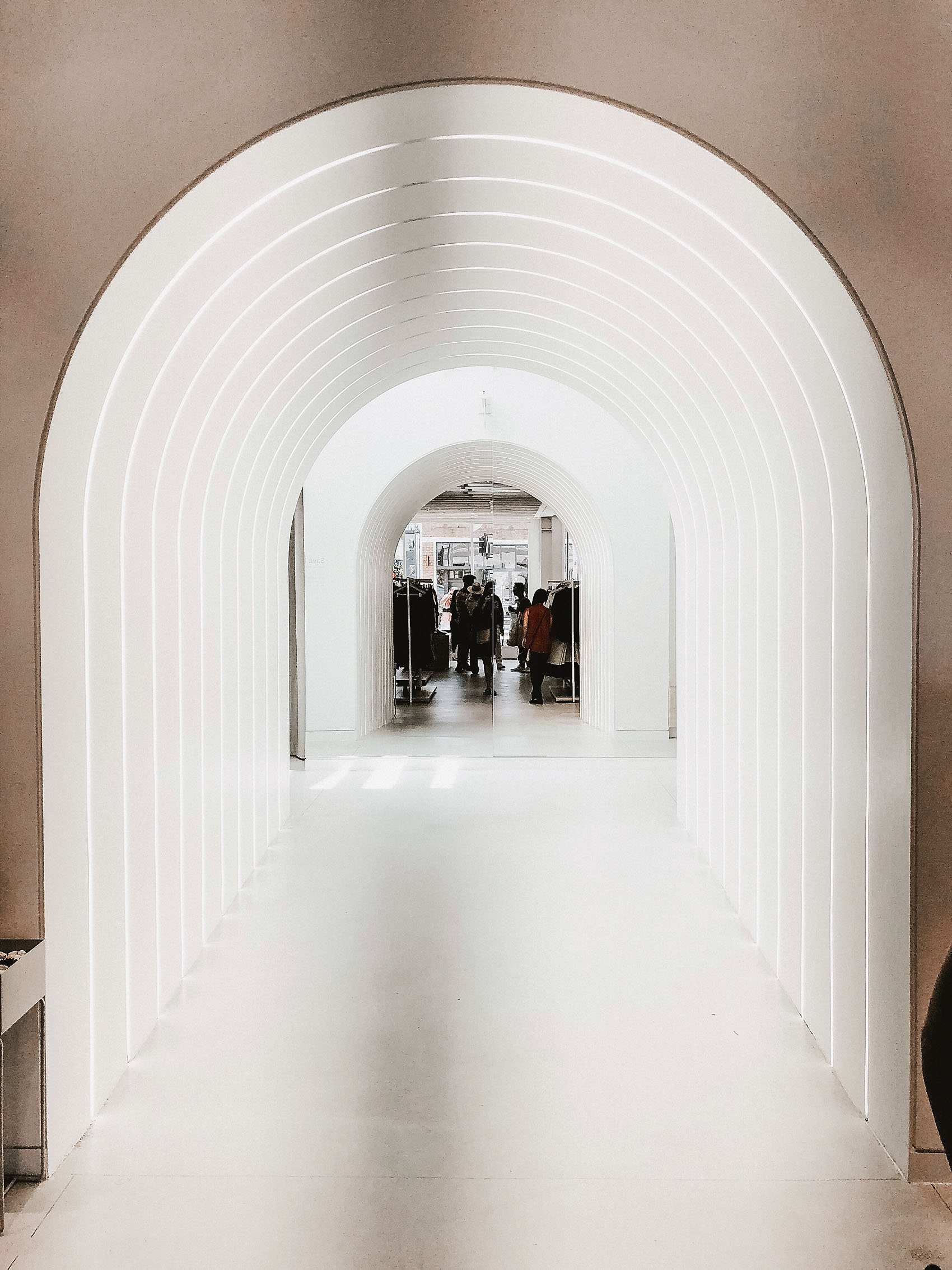 Everlane Minimalist Store Design, Dressing Room Arches
