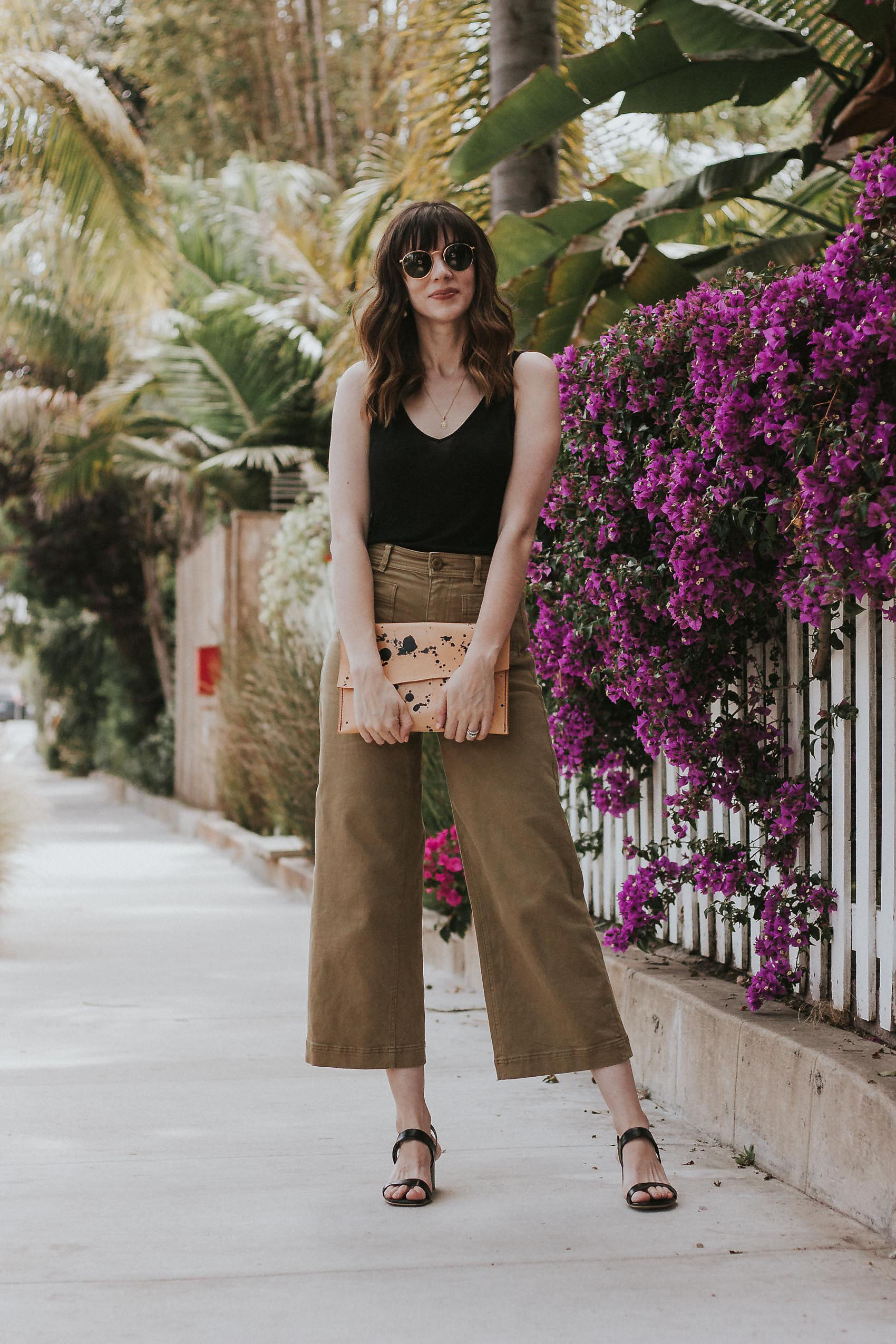 Jeans and a Teacup fashion blogger wearing Everlane Wide Leg Patch Pocket Crop Pants, Walter & George Clutch, and Everlane Sandals