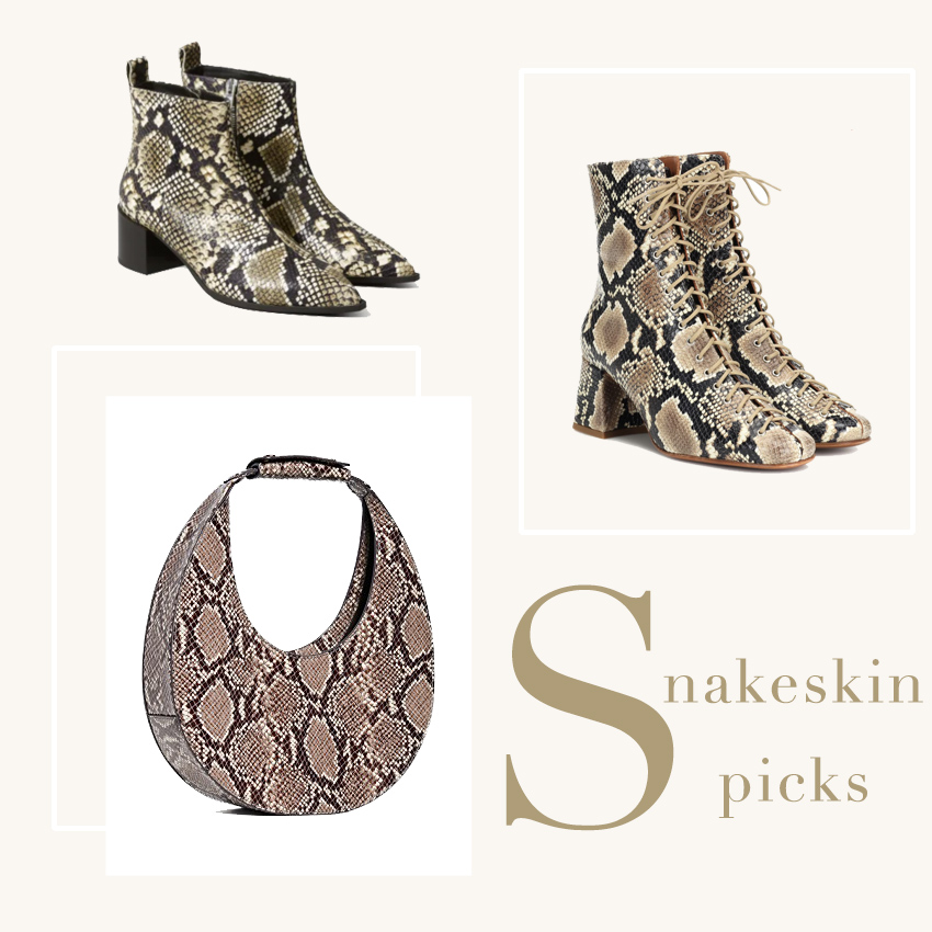 Snakeskin accessories on trend for fall