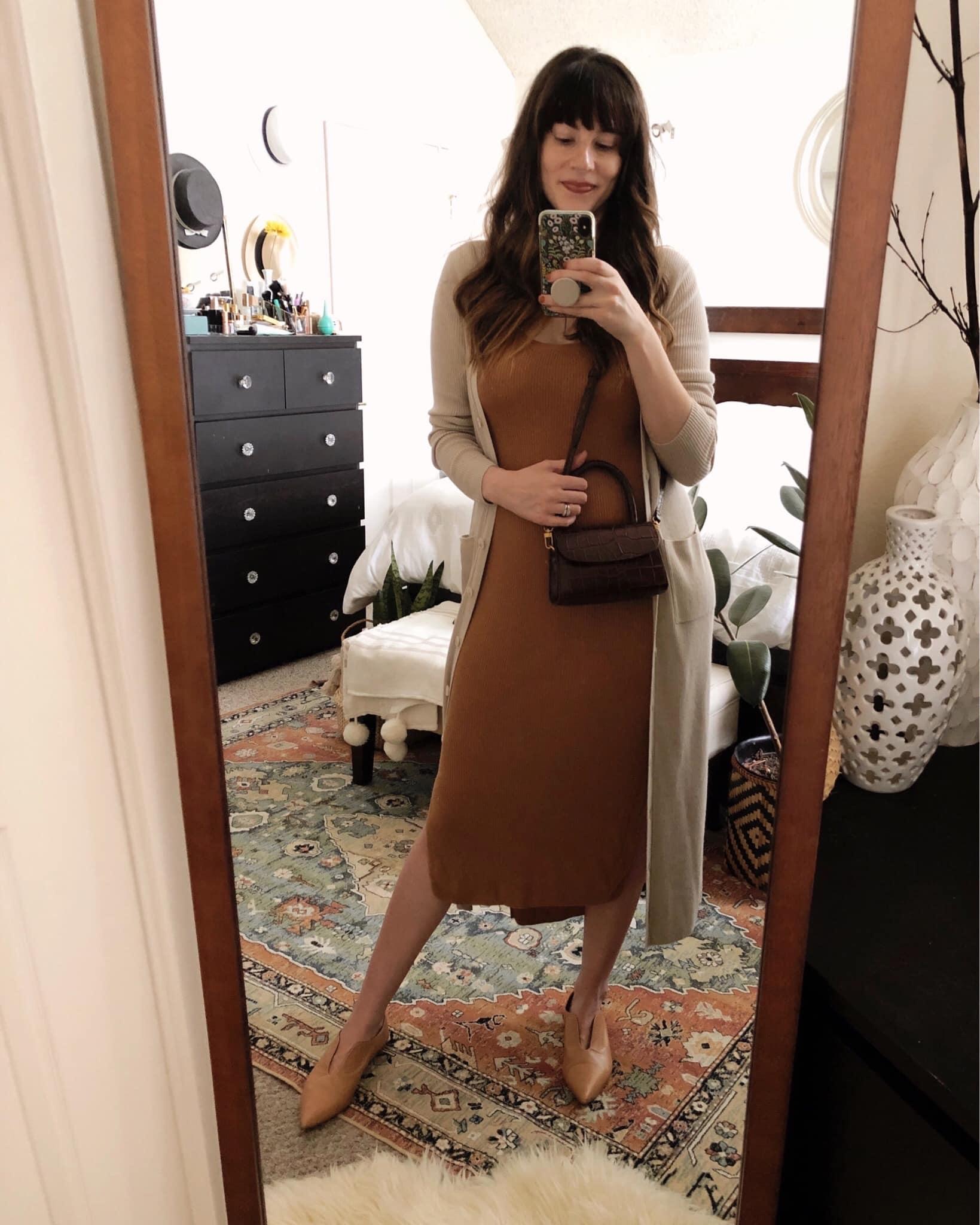 Naadam Cashmere dress and cardigan dress