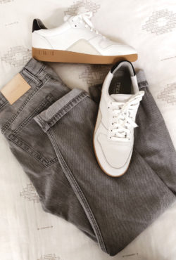 Everlane Court Sneaker with Everlane Summer Jean in Grey