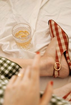 Green Gingham Dress with Red Gingham Shoes