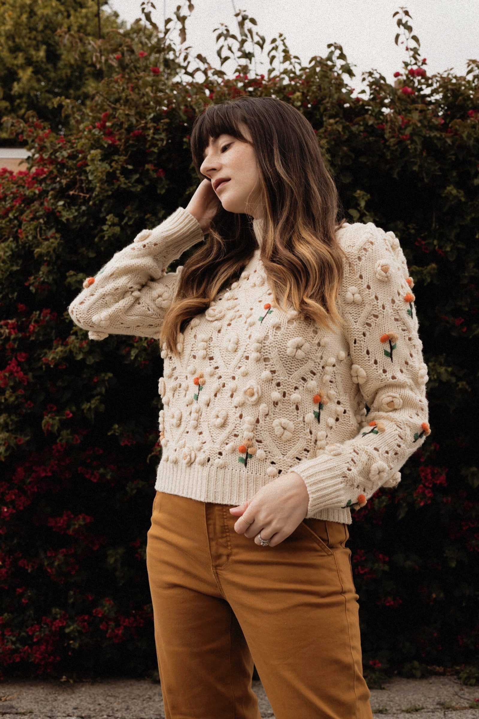 Zara Knit Sweater with Floral Applique
