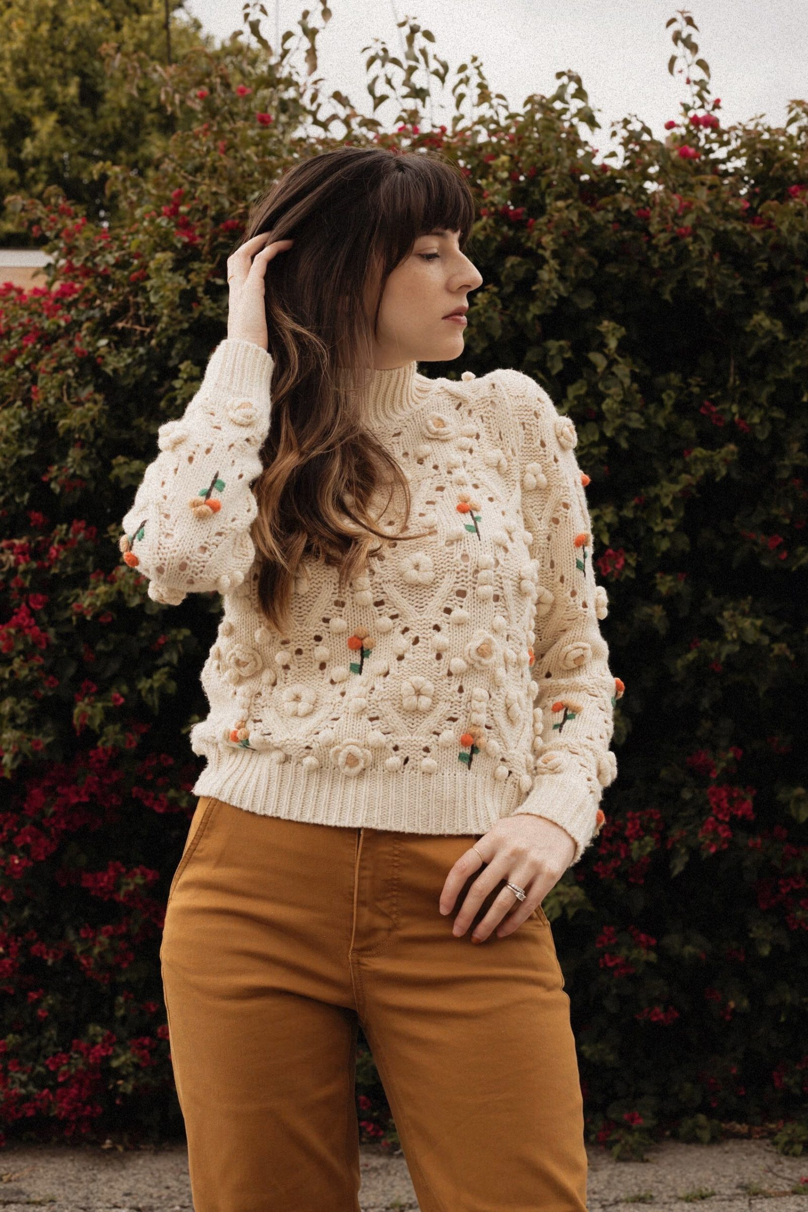 Floral Zara Knit Sweater with Everlane Pants
