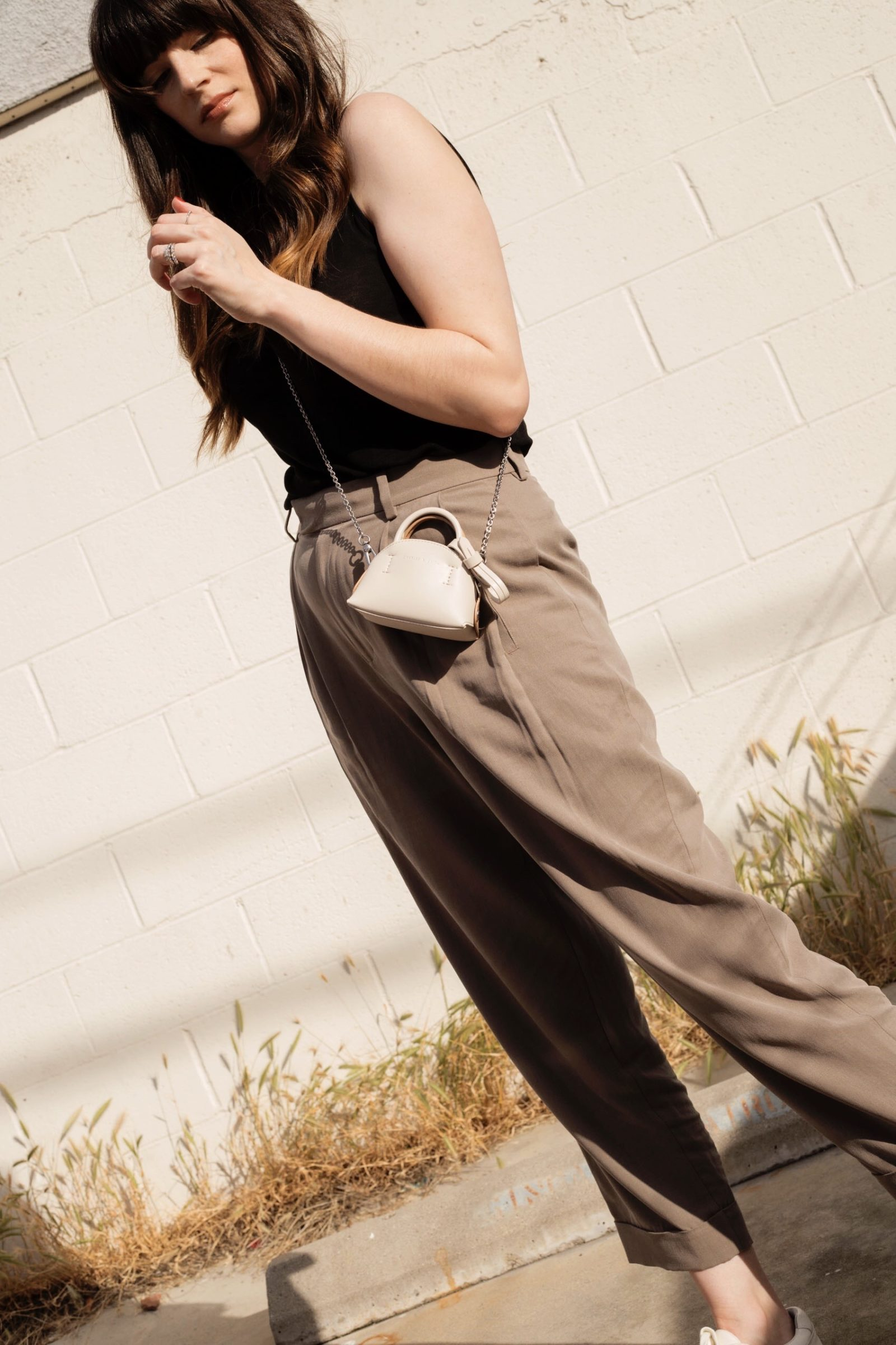 Micro Bag with Pleated Pants