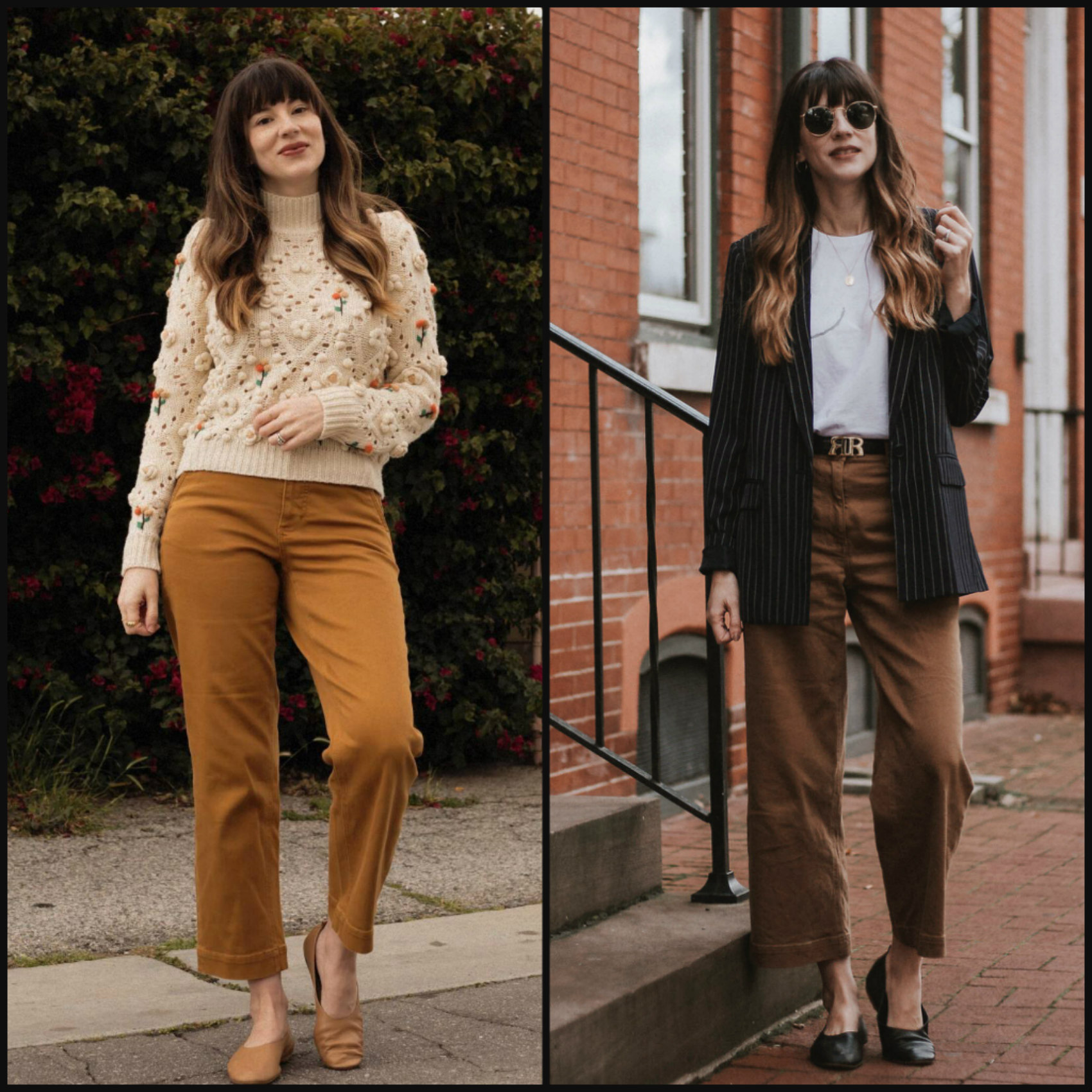 Side by Side Everlane Straight Leg Crop Pants and Wide Leg Crop Pants
