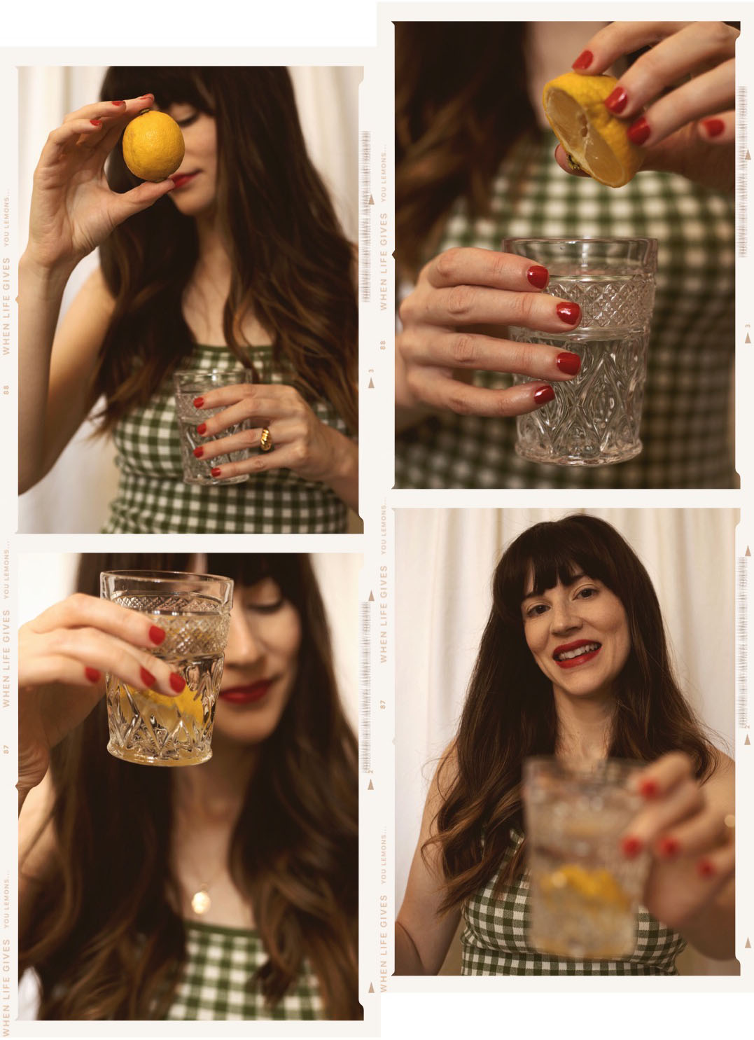 Gingham Dress, Lemon Water Photoshoot