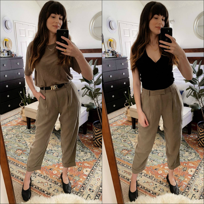 Everlane Pleated Pants styled two ways