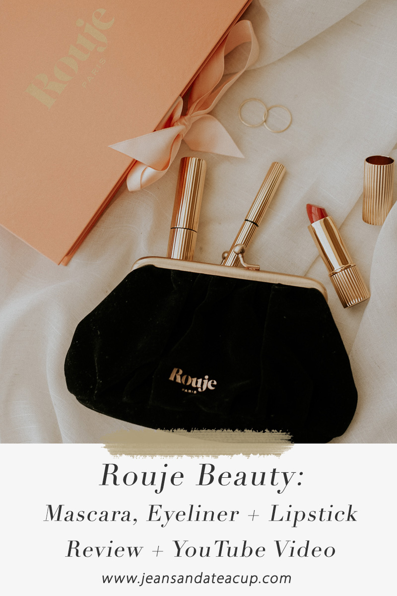 A review of Rouje Beauty Mascara, Eyeliner, and Lipstick