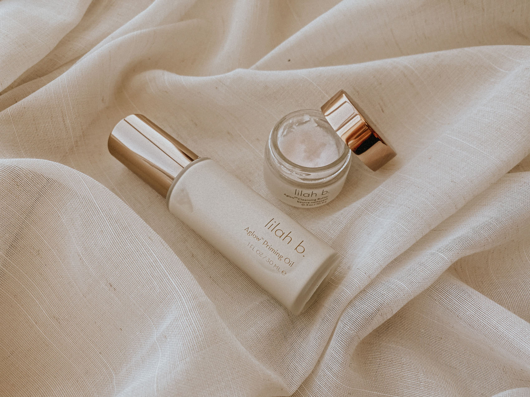 Clean beauty brand lilah beauty cleansing butter and aglow primer