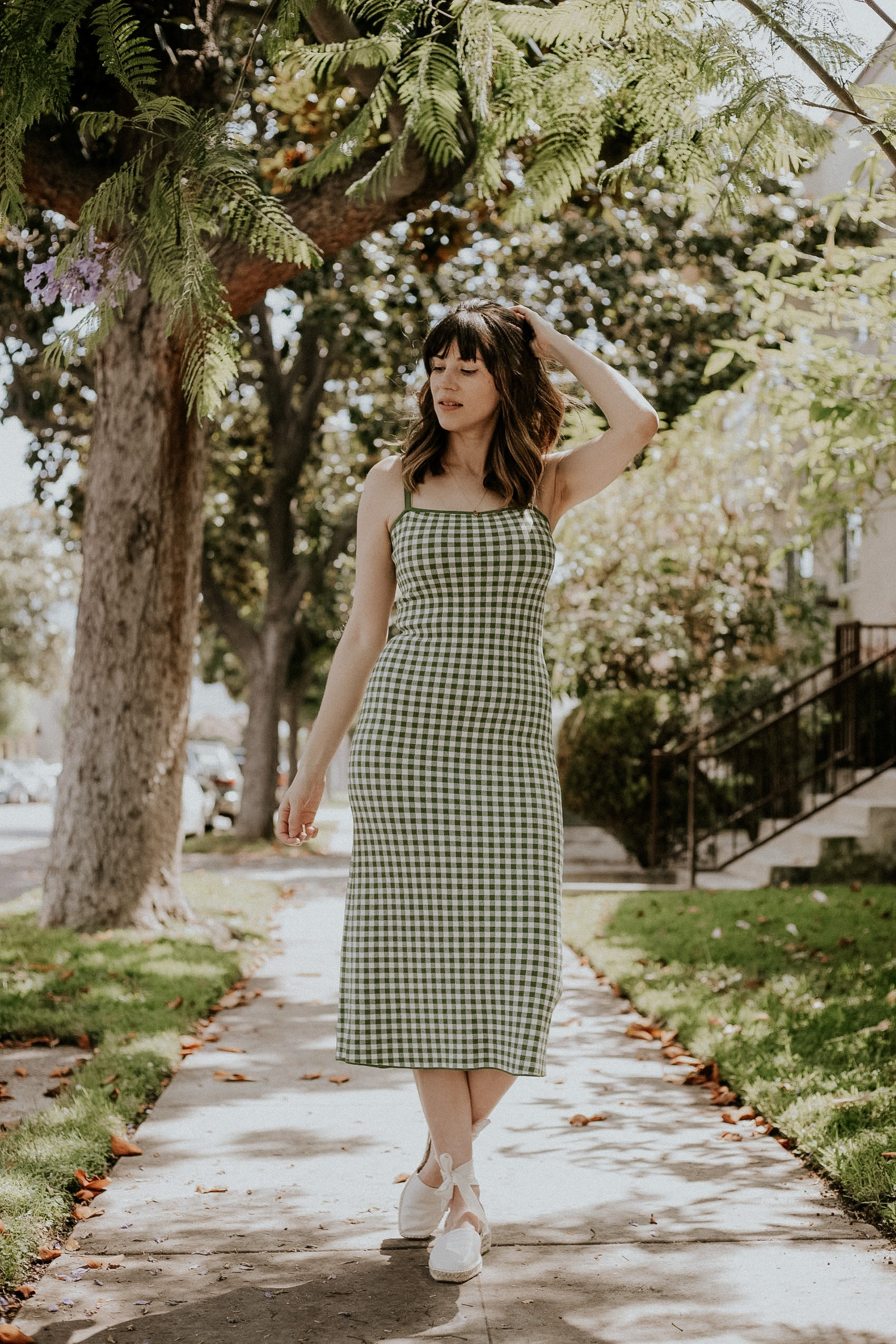 Los Angeles Fashion Blogger wearing green gingham dress from & Other Stories