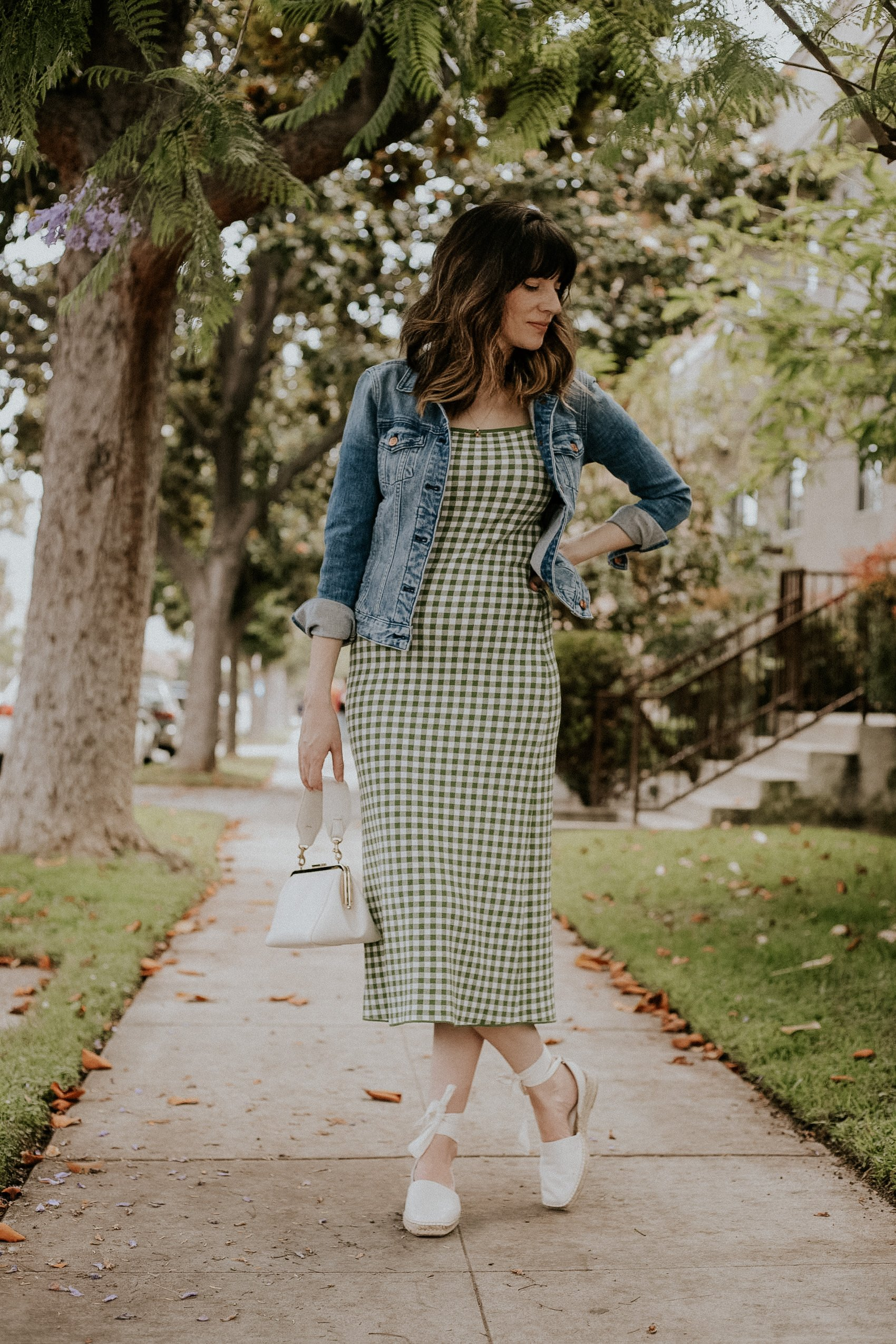 Los Angeles Style Blogger wearing & Other Stories gingham dress and Everlane D'Orsay Espadrille sandals