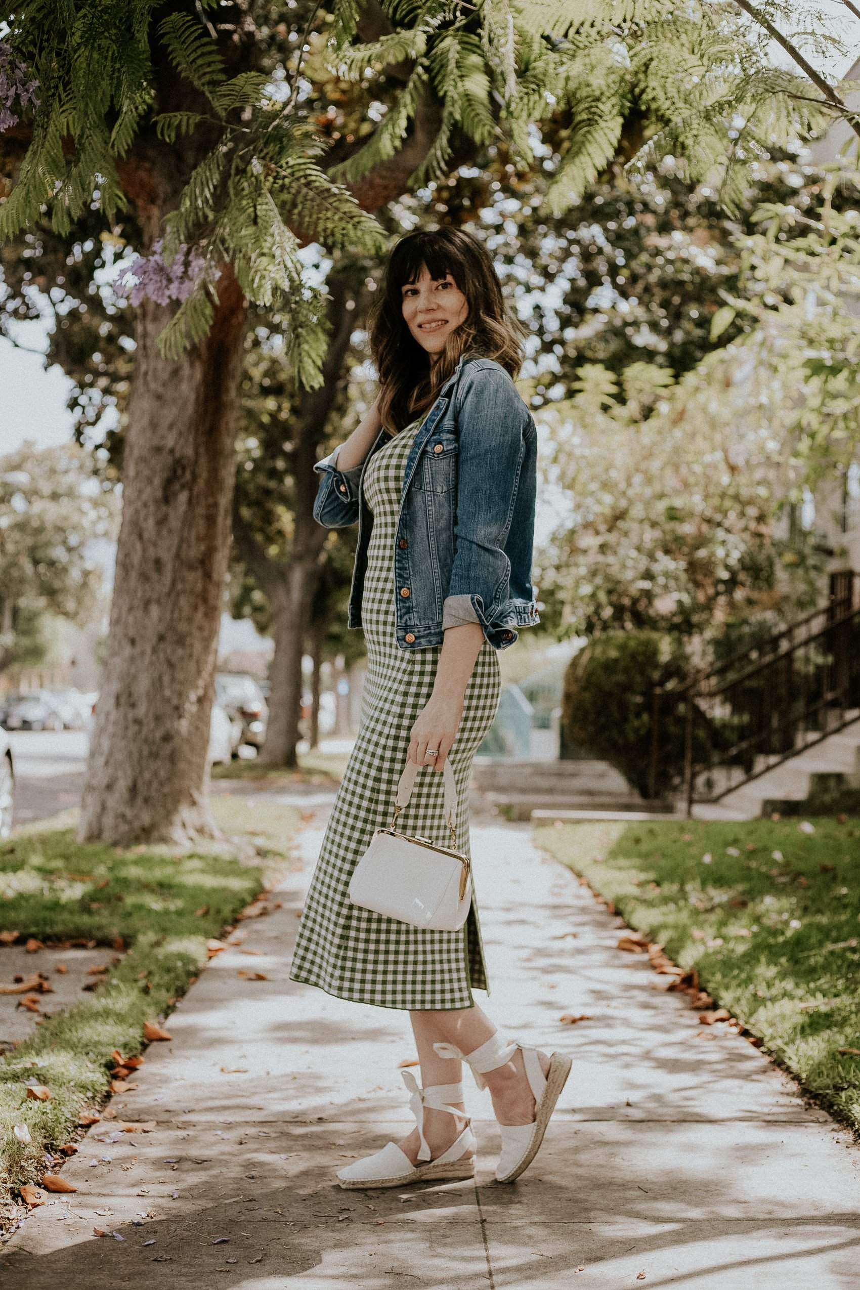 How to Style a gingham dress, denim jacket, espadrille sandals