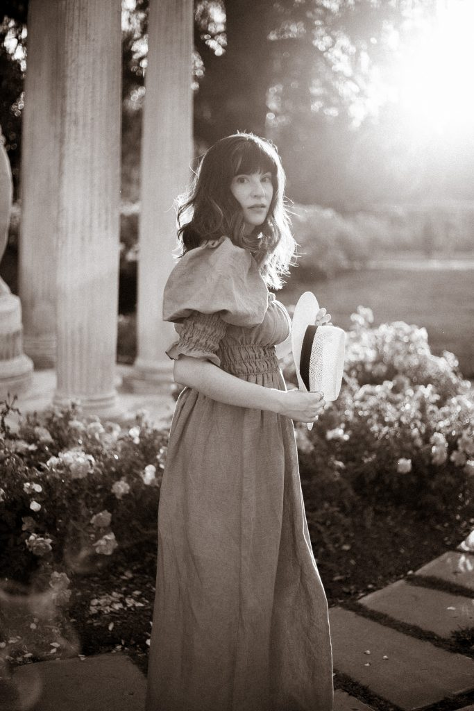 Black and White Photo of Fashion Blogger wearing Damaris Bailey at the Huntington Gardens