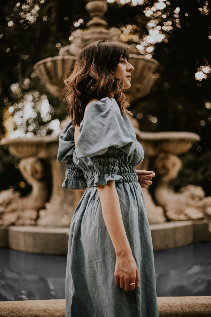 Puff Sleeve Linen Dress at The Huntington Gardens Pasadena